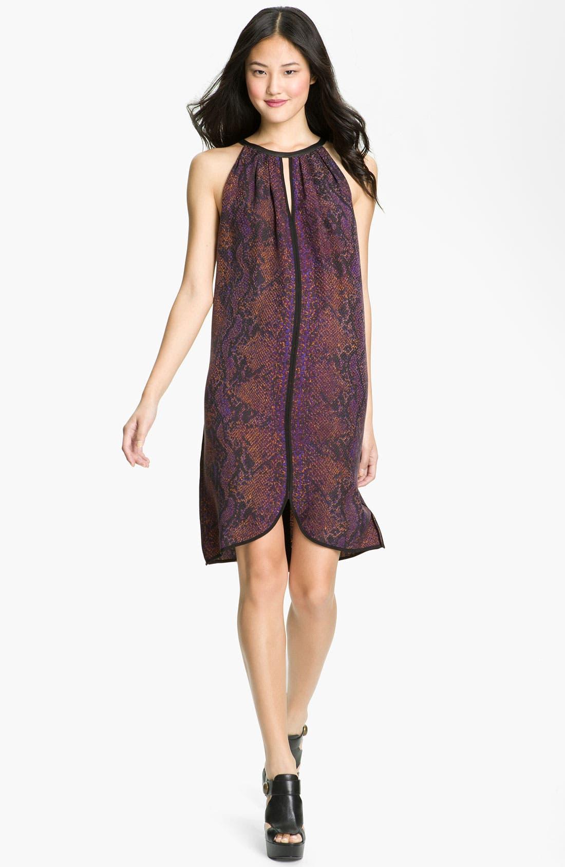 Main Image - Rebecca Taylor 'Python' Print Silk Halter Dress