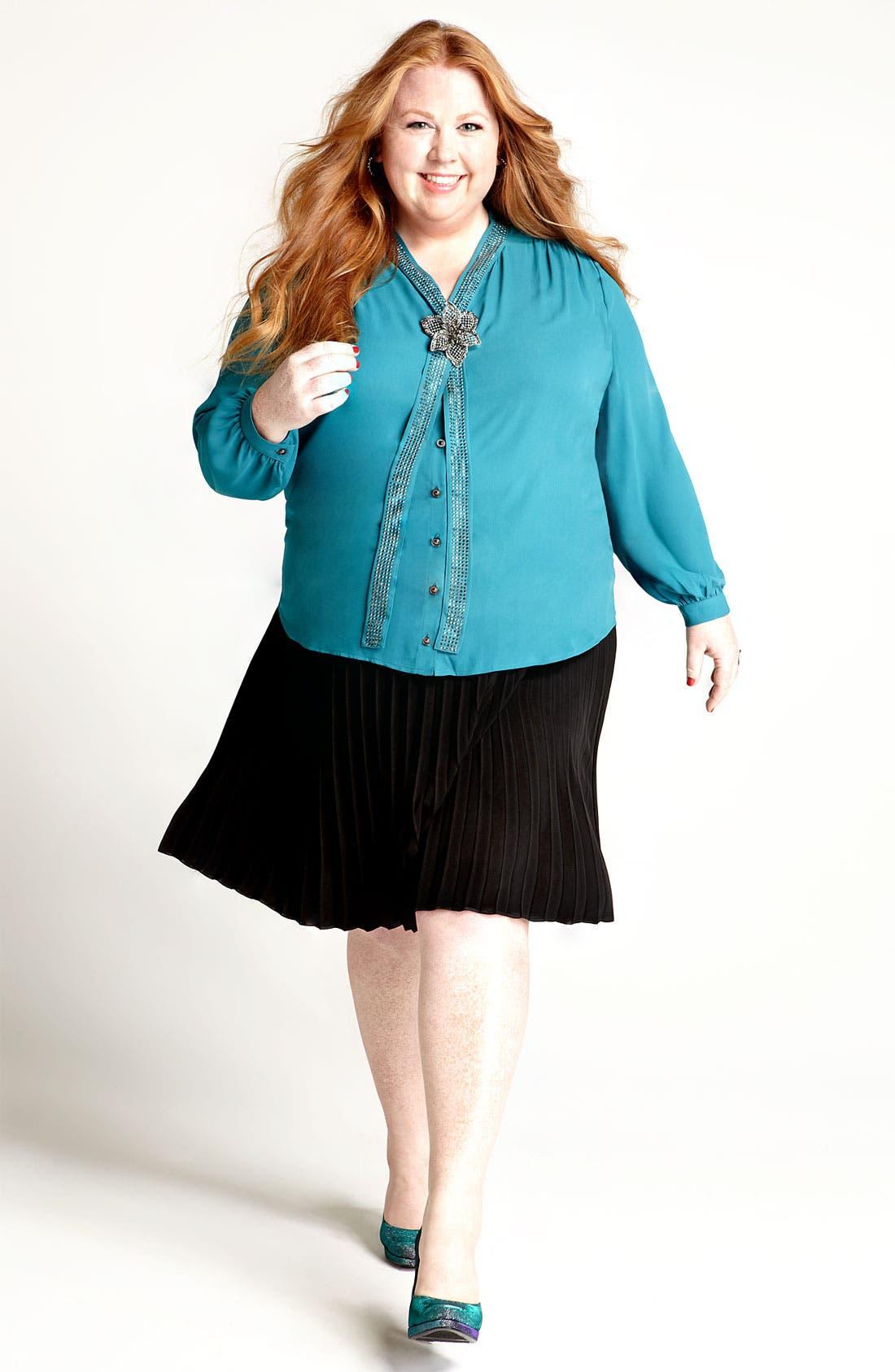 Alternate Image 4  - Bellatrix Studded Tie Front Blouse (Plus)