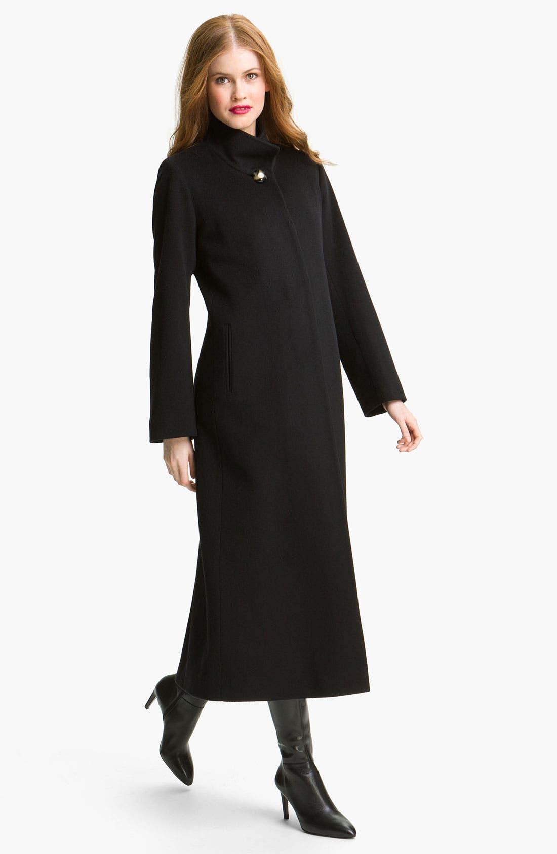 Main Image - Fleurette Stand Collar Long Wool Coat (Online Exclusive)