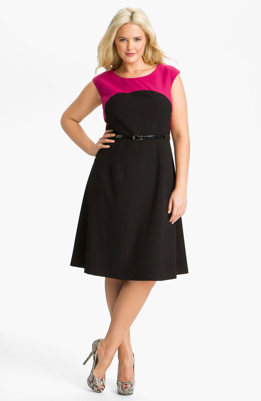 Main Image - Calvin Klein Belted Two Tone A-Line Dress (Plus)