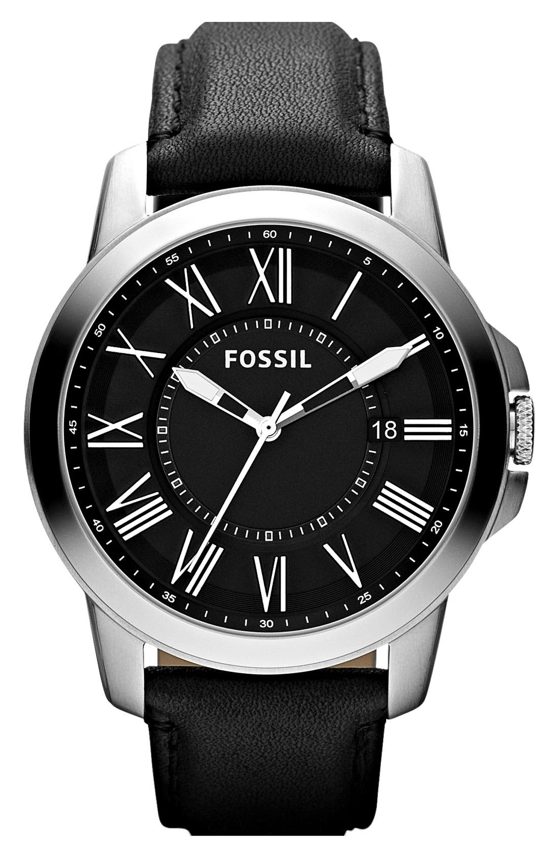 Main Image - Fossil 'Ansel' Round Leather Strap Watch, 44mm