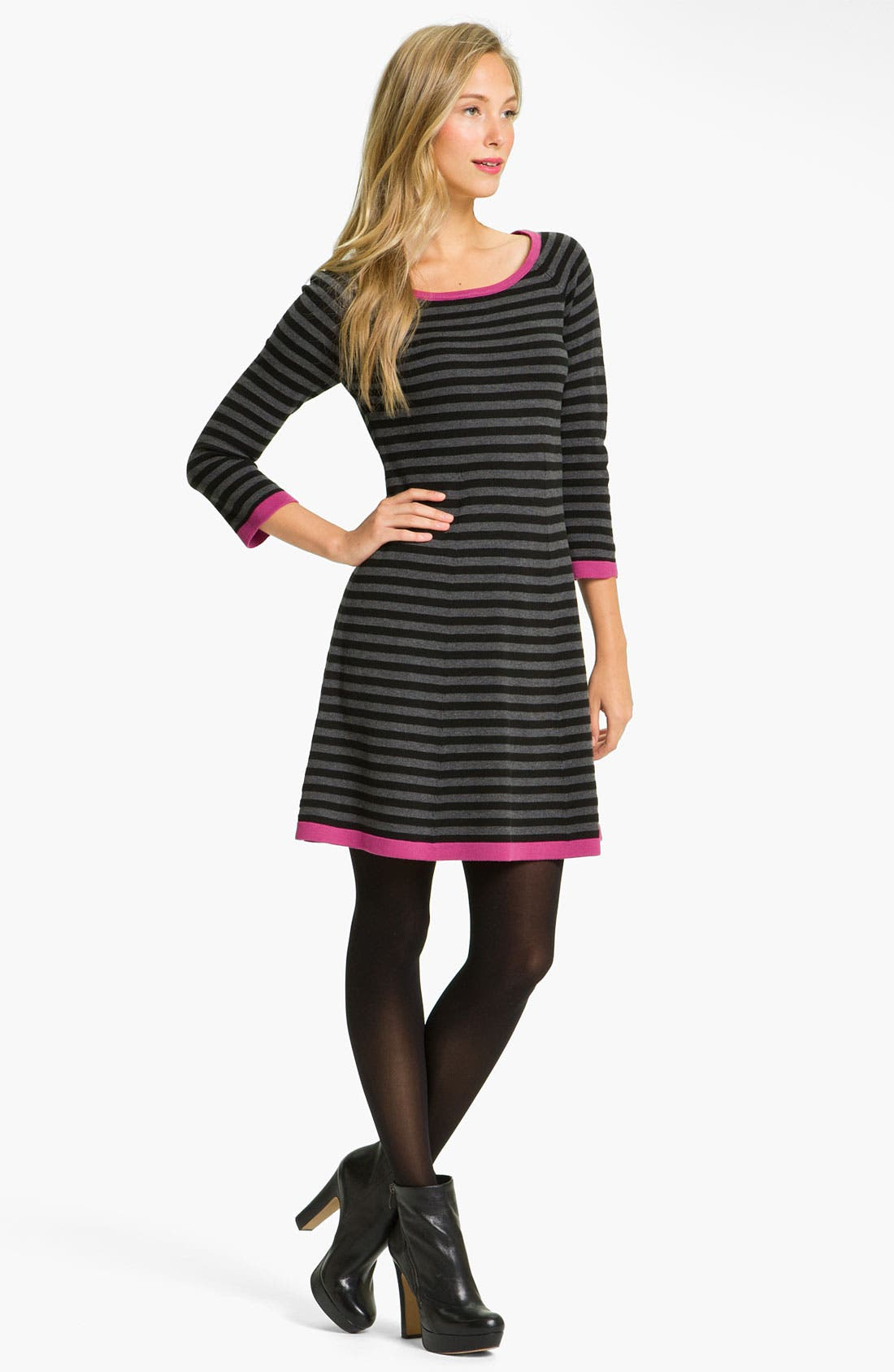 Main Image - Eliza J Stripe Contrast Trim Sweater Dress