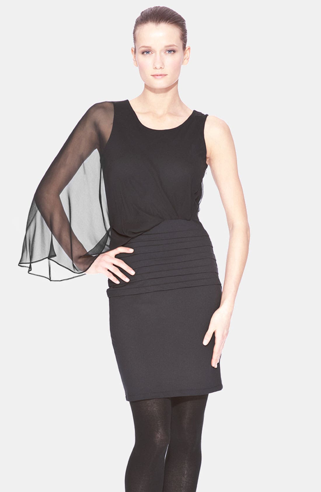 Main Image - Marc New York by Andrew Marc Sheer One Sleeve Mixed Media Dress