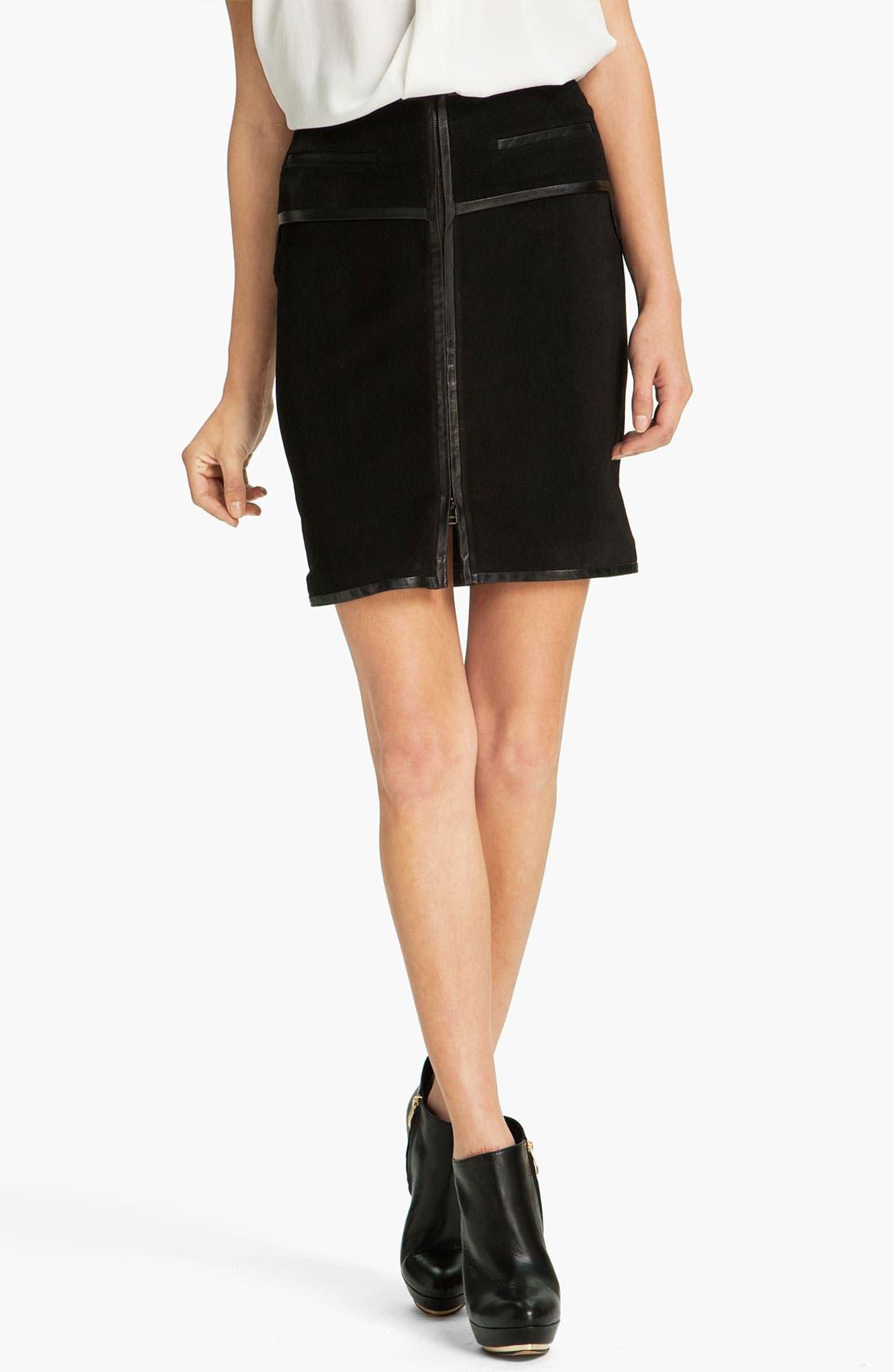 Main Image - Robert Rodriguez Leather Framed Suede Skirt