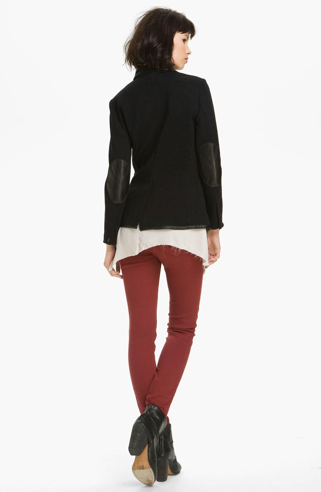 Alternate Image 2  - rag & bone 'Bromley' Leather Trim Knit Blazer