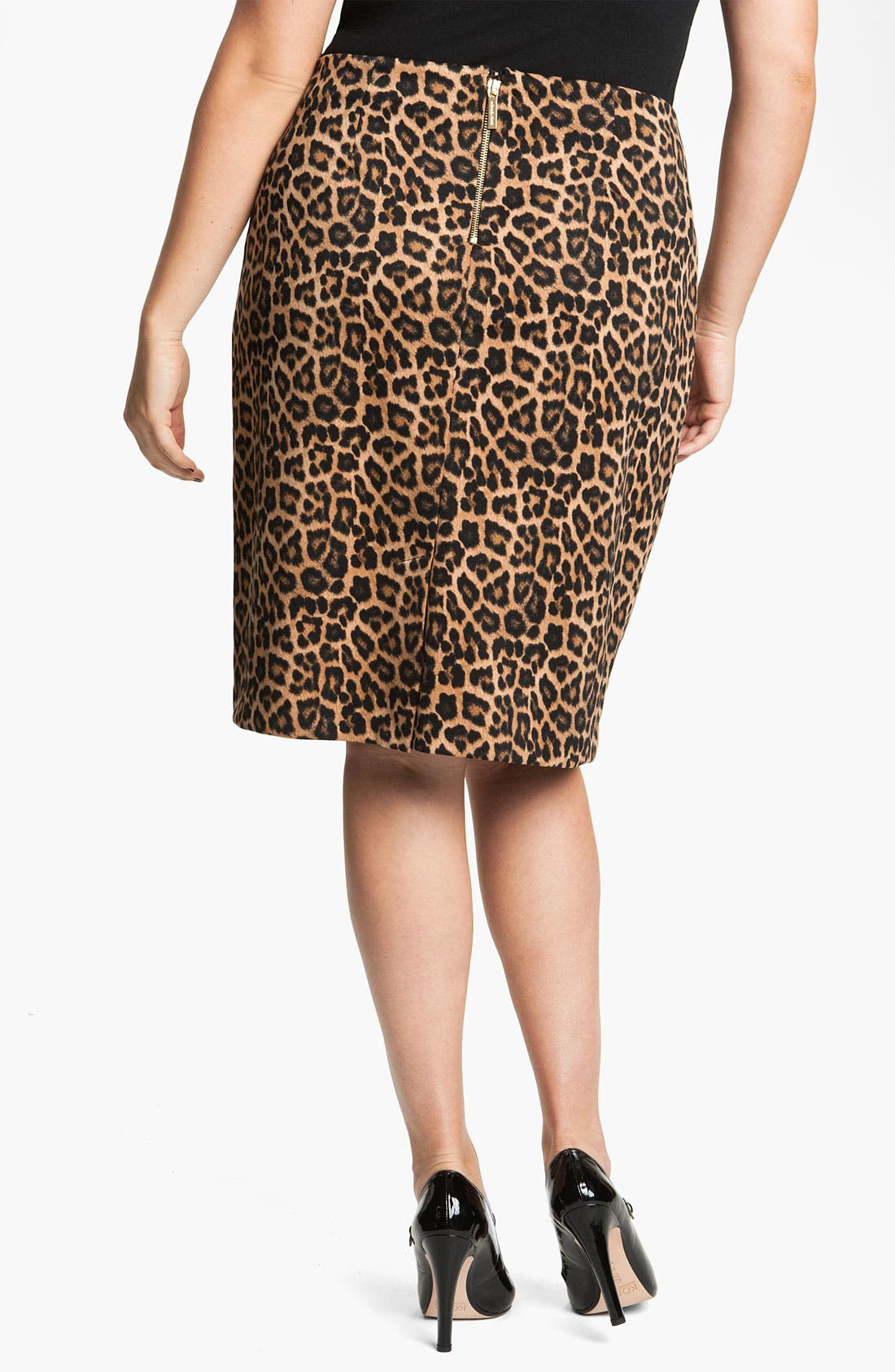 Alternate Image 2  - MICHAEL Michael Kors Jaguar Print Ponte Skirt (Plus)