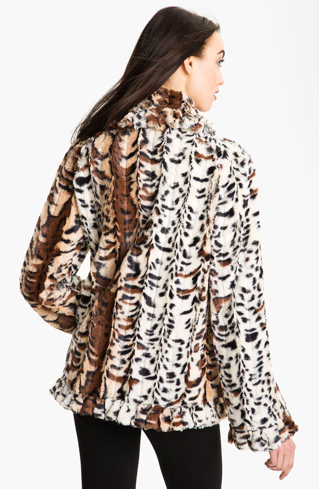 Alternate Image 2  - Damselle Faux Fur Ruffle Coat