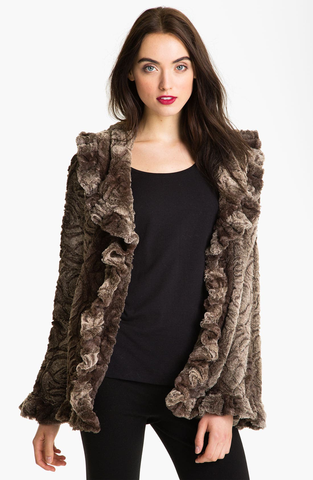 Alternate Image 1  - Damselle Faux Fur Ruffle Coat