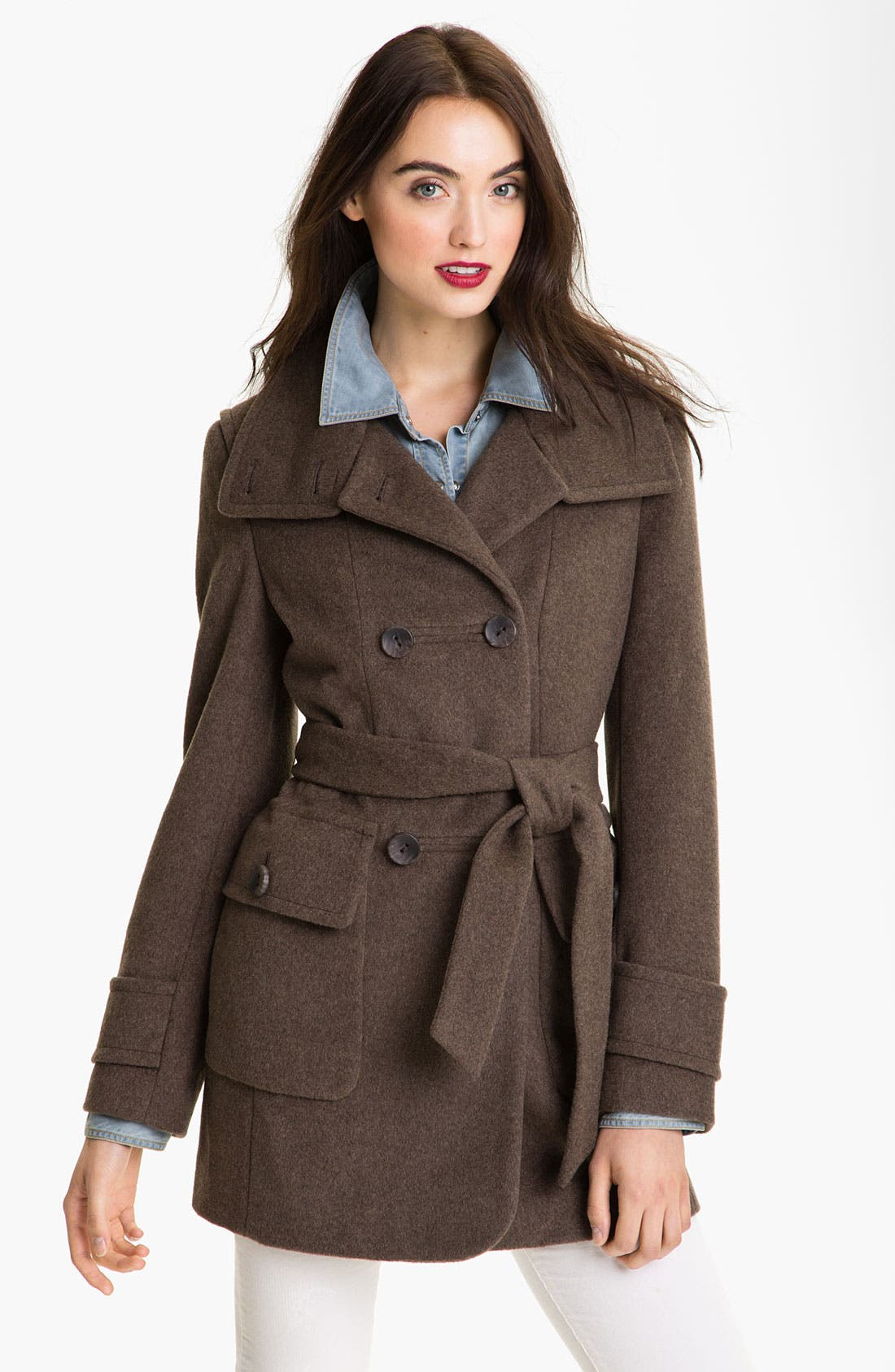 Alternate Image 1 Selected - Calvin Klein Convertible Collar Double Breasted Coat
