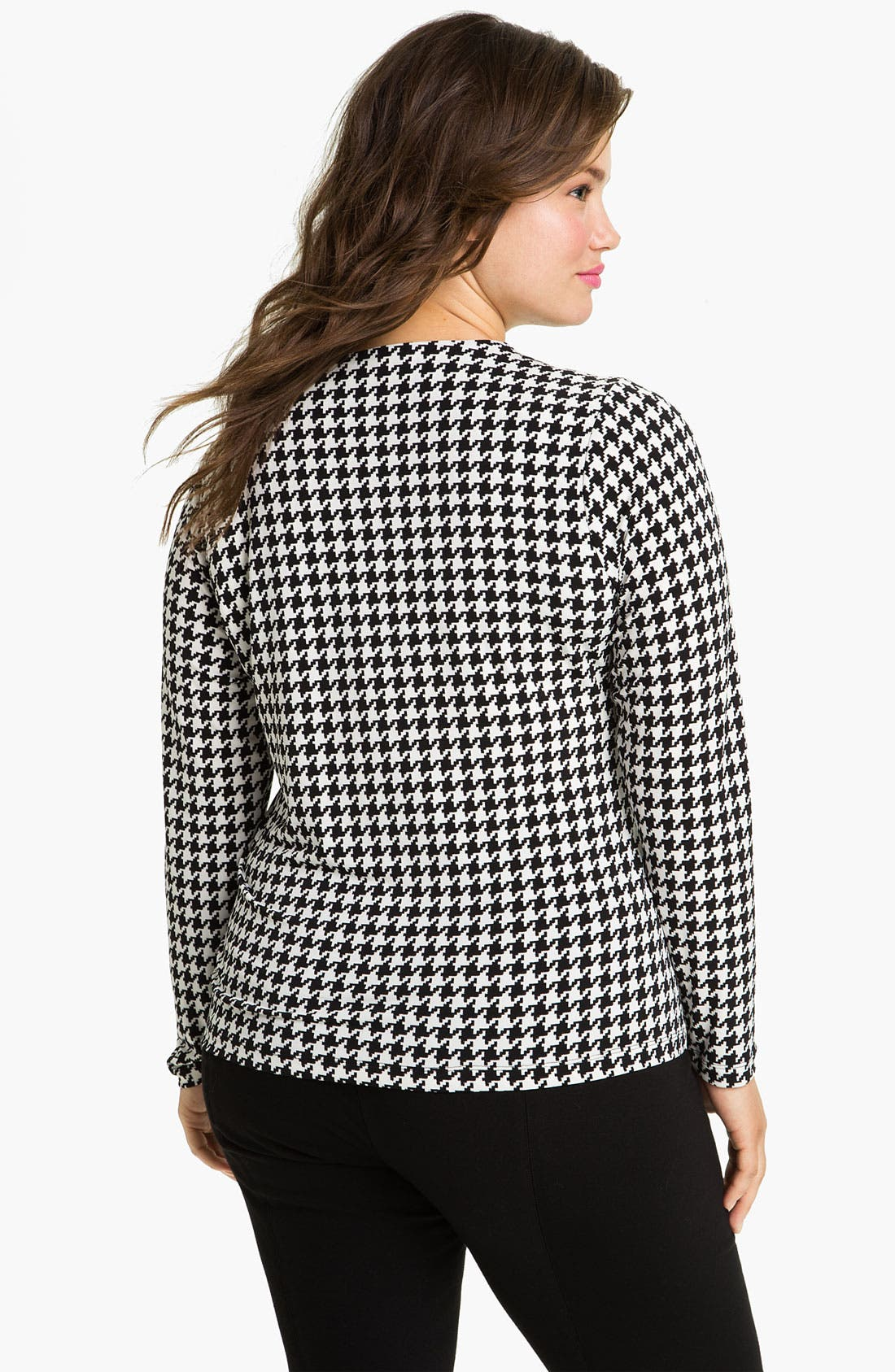Alternate Image 2  - Vince Camuto Asymmetric Houndstooth Top (Plus)