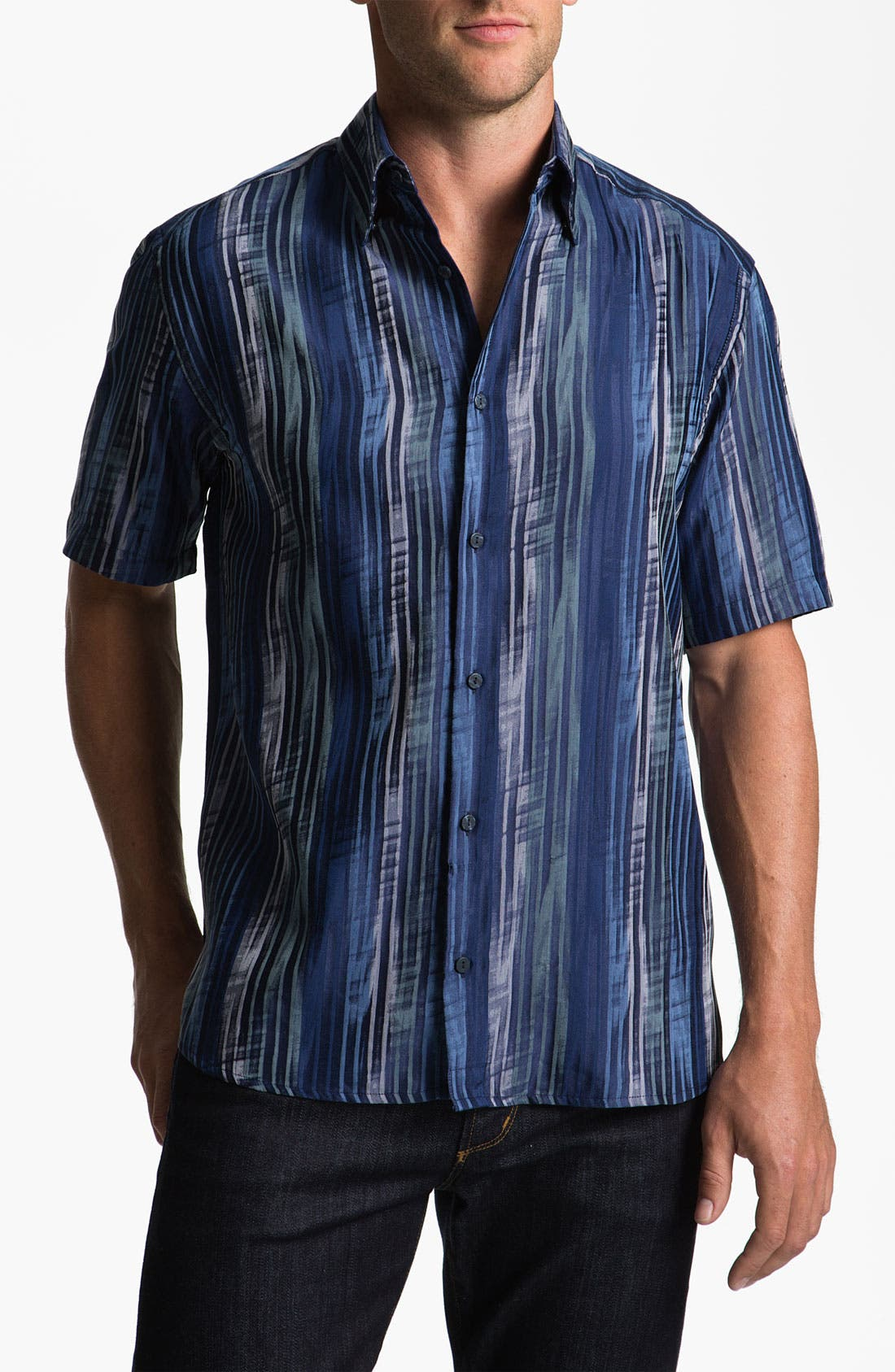 Alternate Image 1 Selected - Jhane Barnes Collection 'Striate' Cotton & Silk Sport Shirt