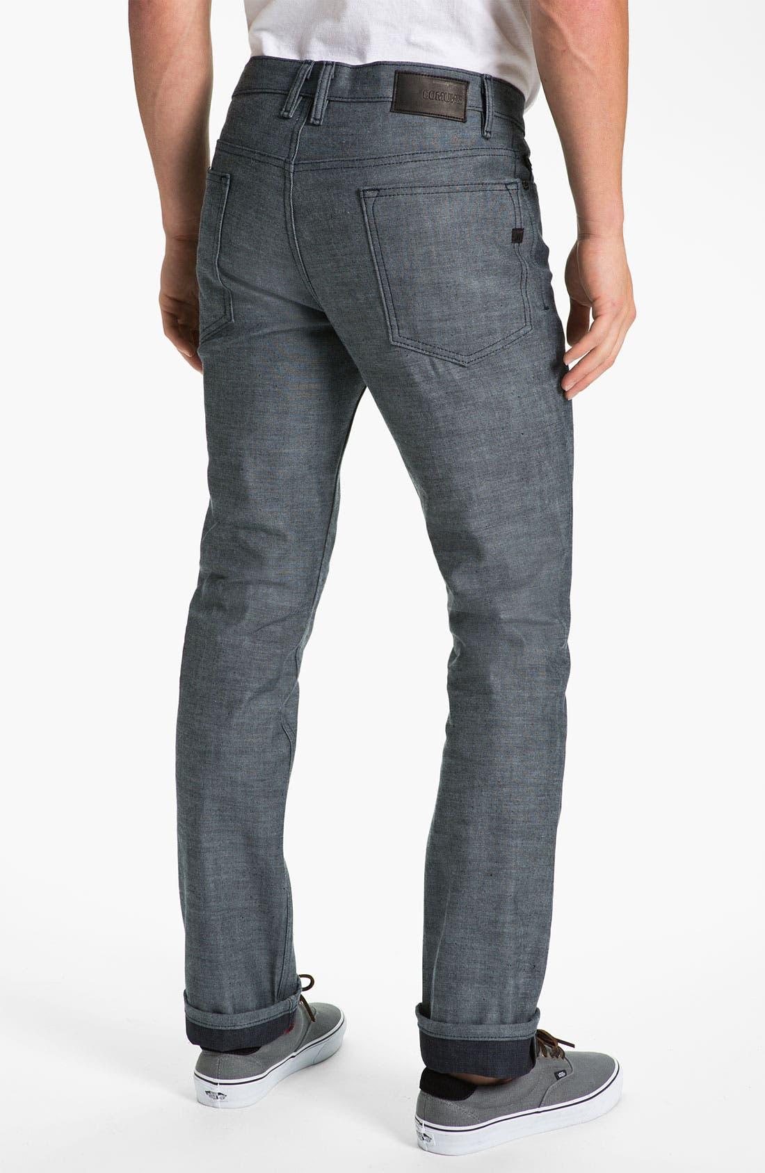 Alternate Image 1 Selected - Comune 'Ricky' Slim Straight Leg Jeans (Speckled Backside of Indigo)