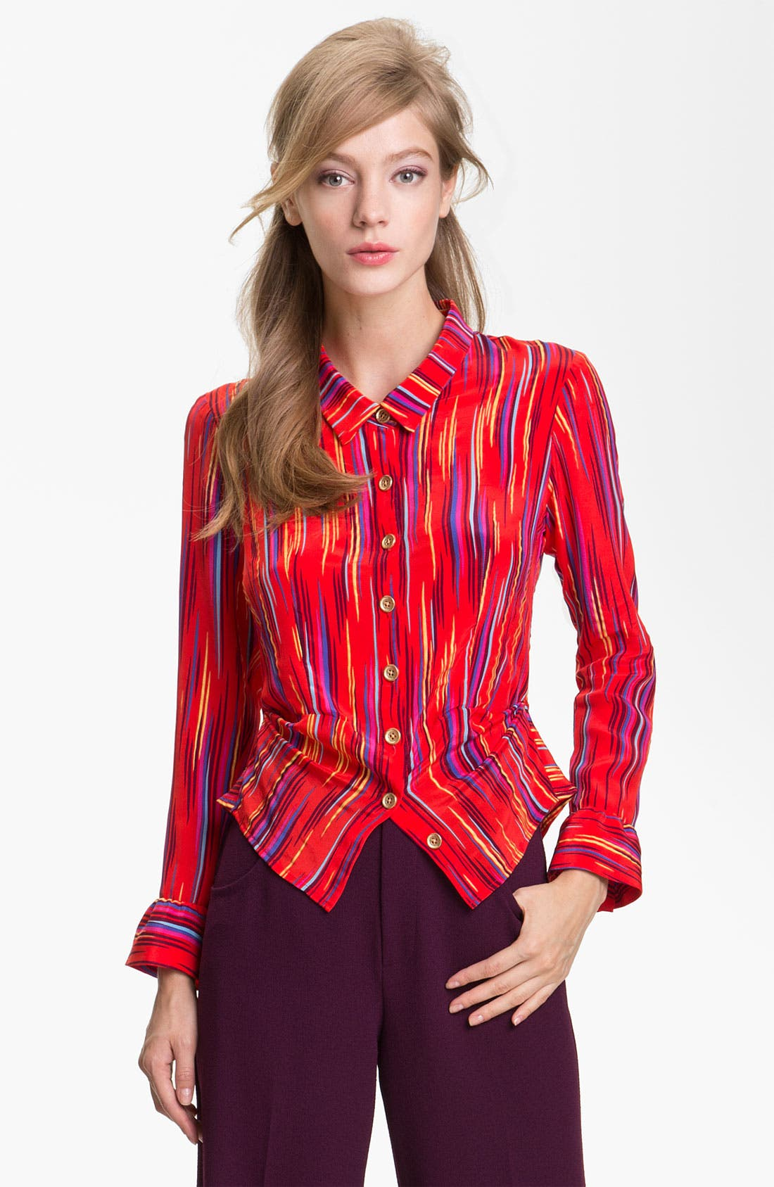 Alternate Image 1 Selected - Nanette Lepore 'Ace of Swords' Peplum Silk Top