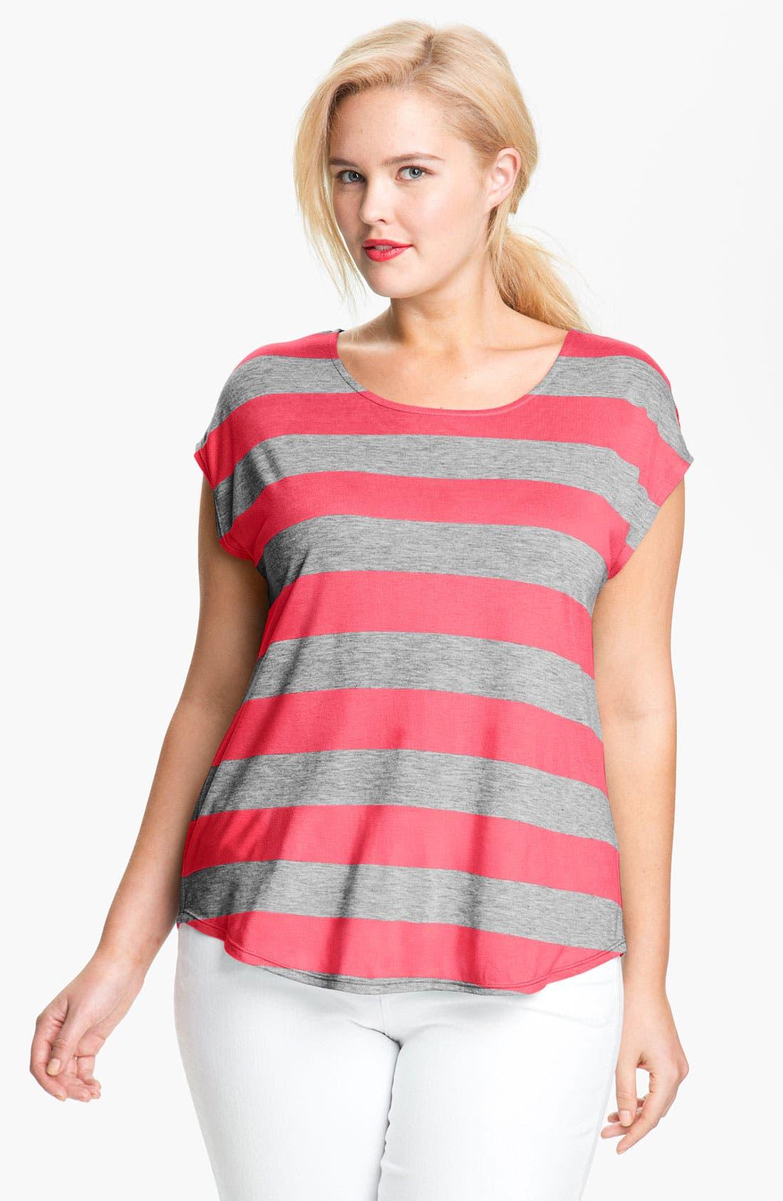 Alternate Image 1 Selected - Olivia Moon Stripe Tee (Plus)