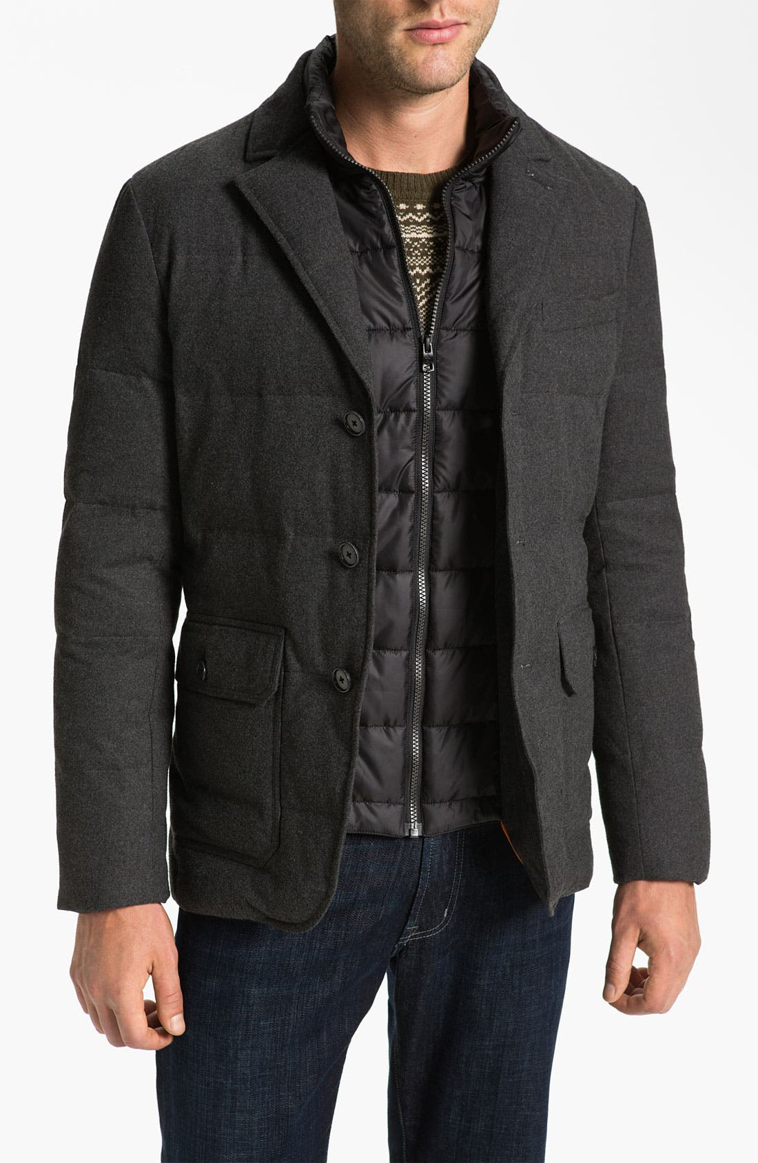 Main Image - Cole Haan Flannel Blazer with Down Fill