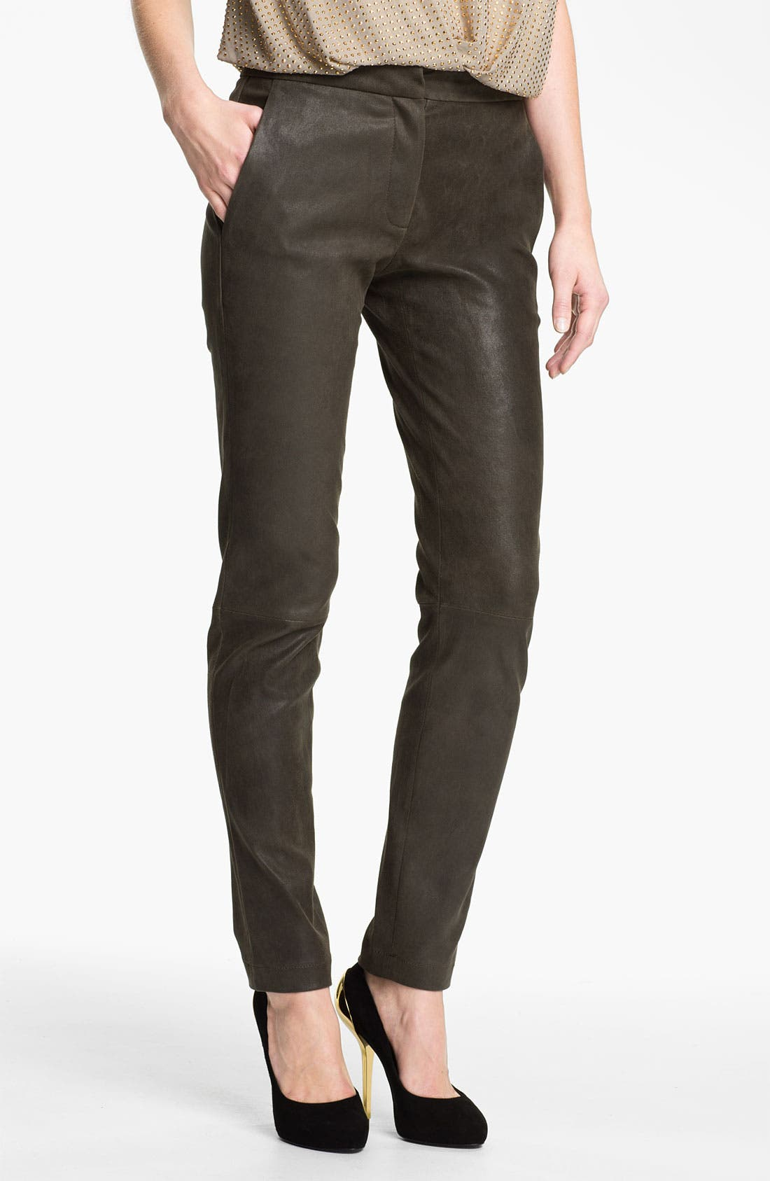 Alternate Image 1 Selected - L'AGENCE Stretch Leather Leggings