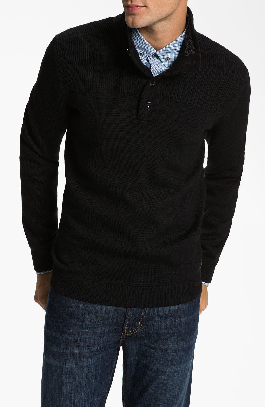 Main Image - BOSS Black 'Lancelot' Slim Fit Mock Neck Wool Sweater
