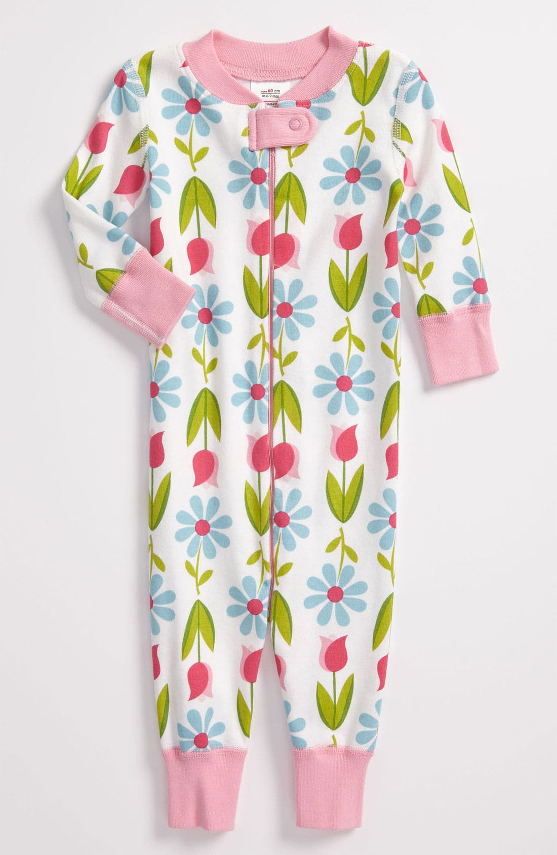 Alternate Image 1 Selected - Hanna Andersson Fitted One-Piece Pajamas (Baby Girls)