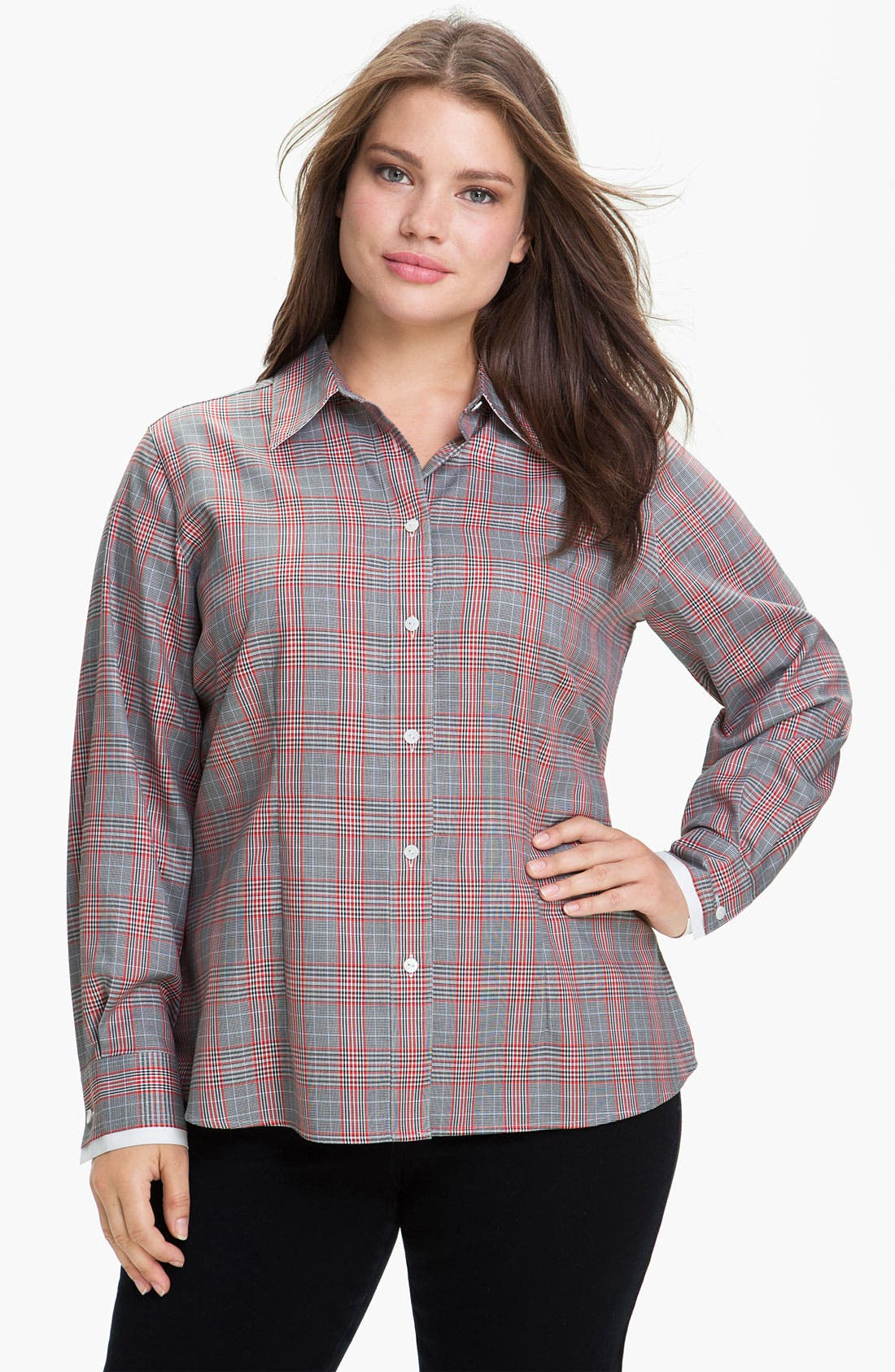 Main Image - Foxcroft Glen Plaid Wrinkle Free Shaped Shirt (Plus)
