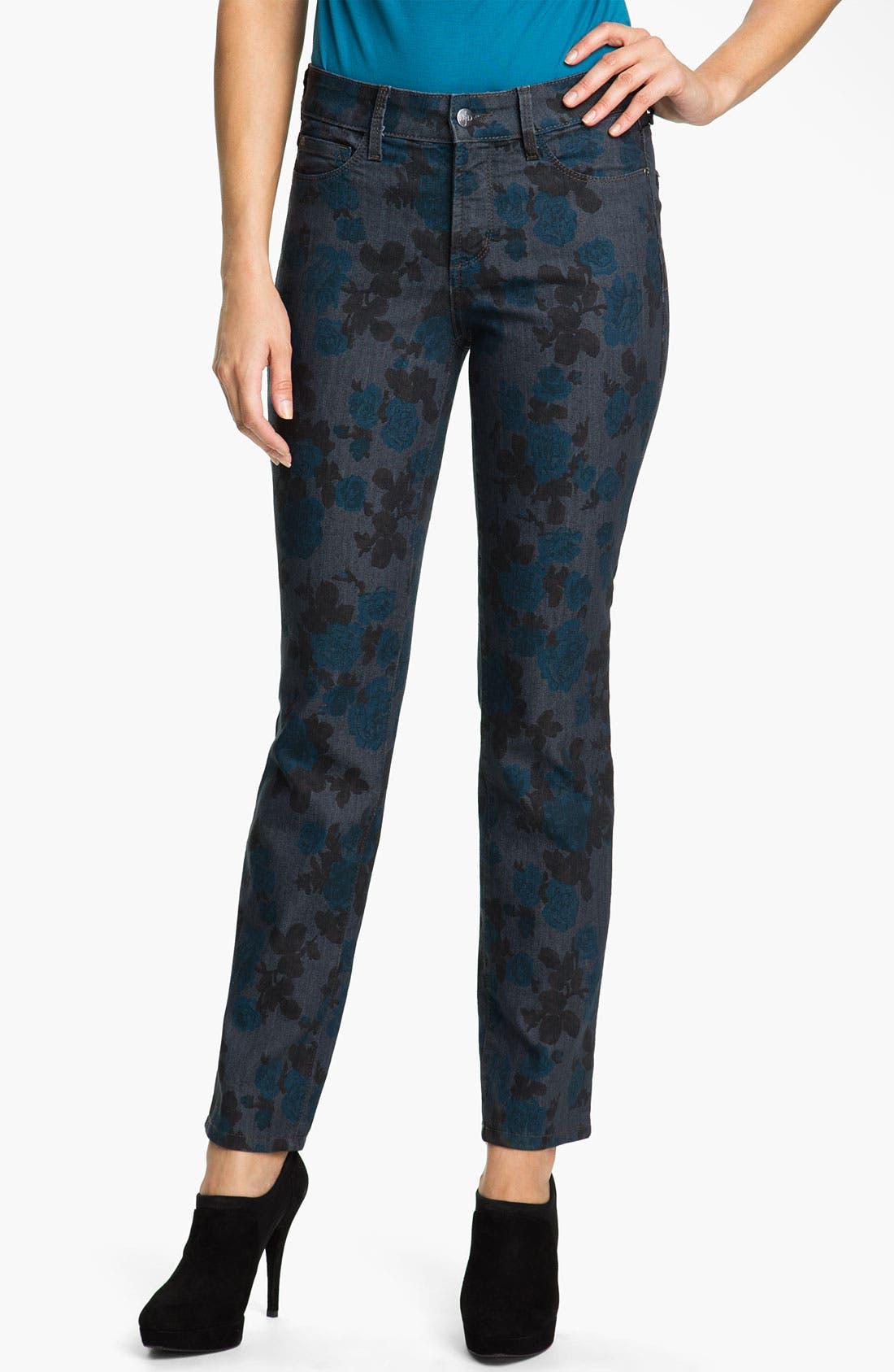 Alternate Image 1 Selected - NYDJ 'Sheri - Wild Rose' Print Skinny Twill Jeans
