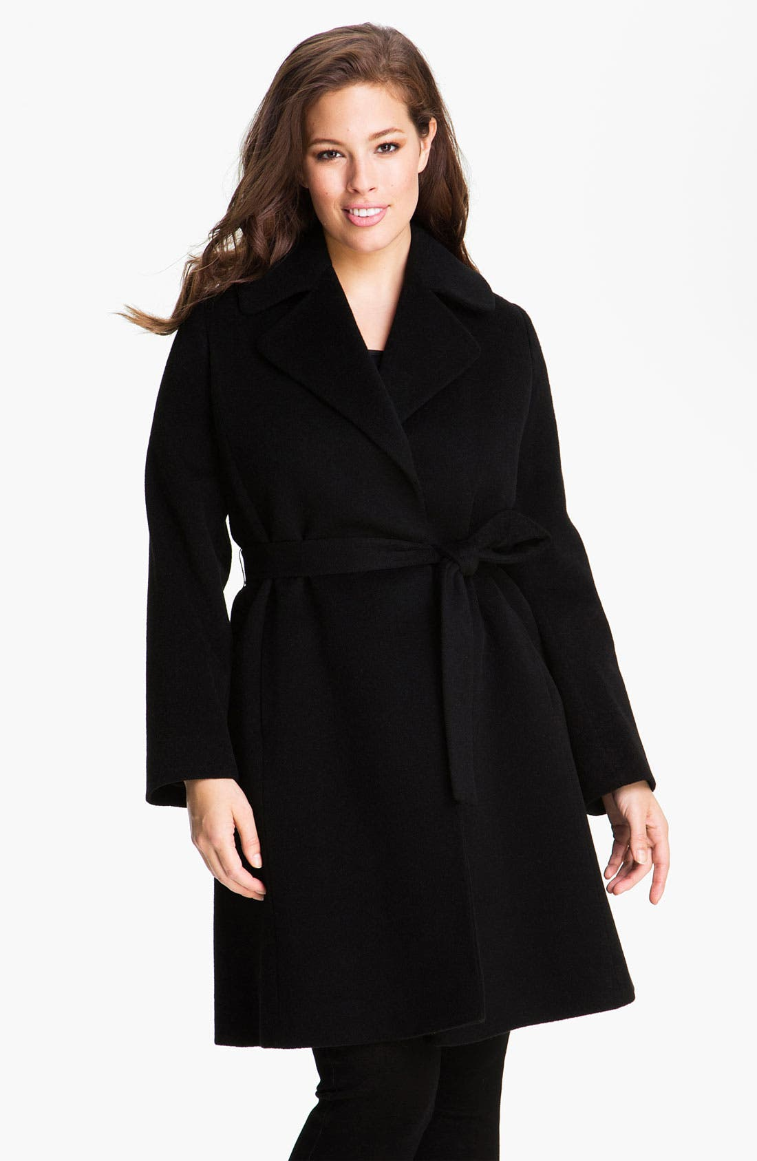 Main Image - Fleurette Cashmere Blend Wrap Coat (Plus)