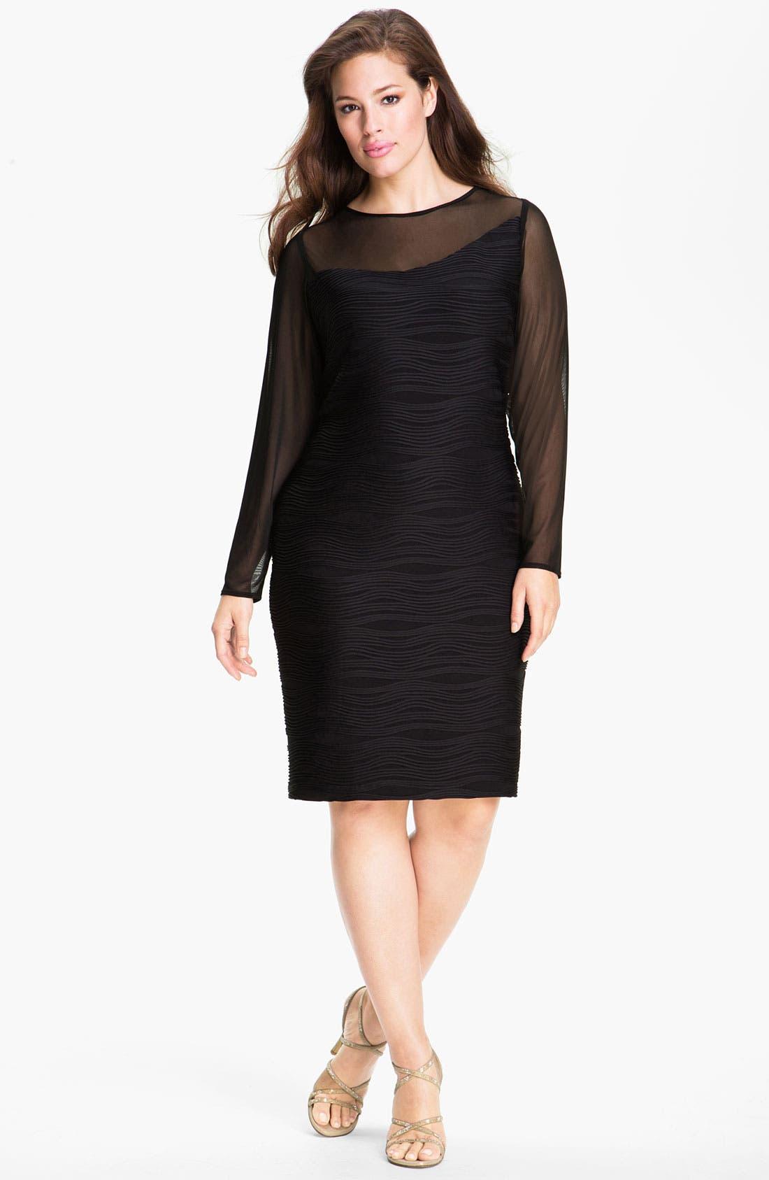 Alternate Image 1 Selected - Donna  Ricco Illusion Sheath Dress (Plus)