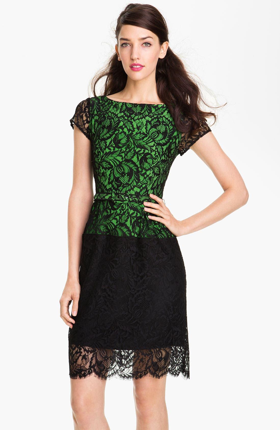Alternate Image 1 Selected - Nanette Lepore Belted Lace Sheath Dress