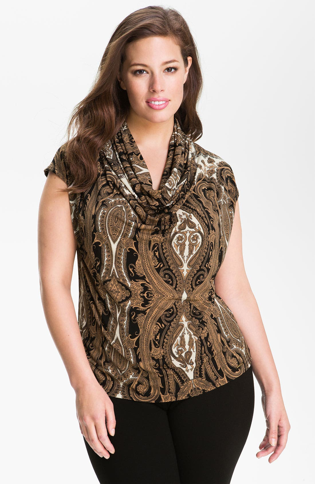 Main Image - MICHAEL Michael Kors 'Chateau' Cowl Neck Top (Plus)