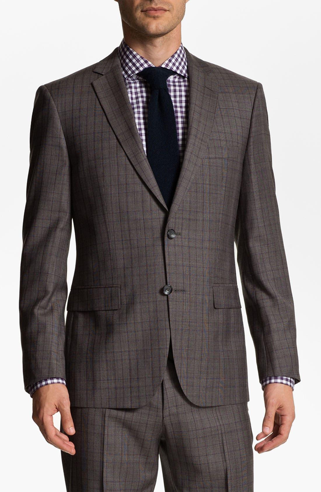 Main Image - BOSS Selection 'Howard/Court' Trim Fit Plaid Suit