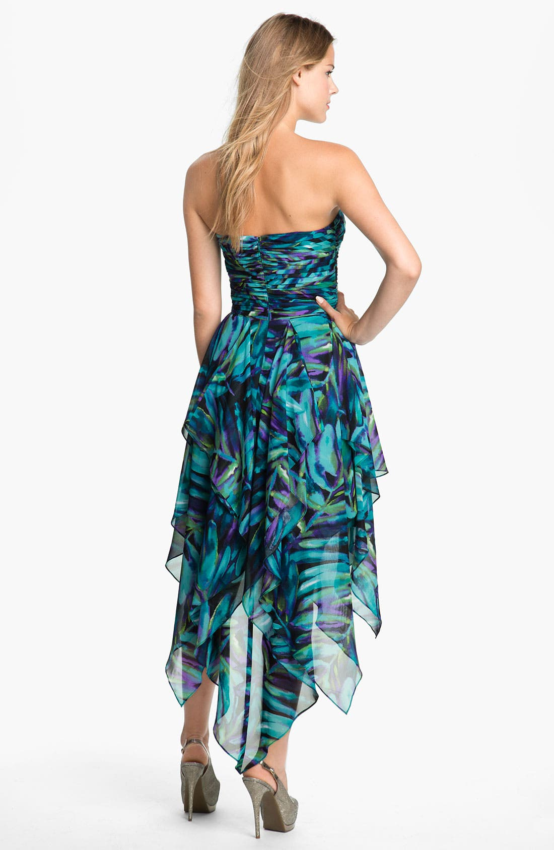 Alternate Image 2  - Hailey by Adrianna Papell Print Strapless High/Low Chiffon Dress