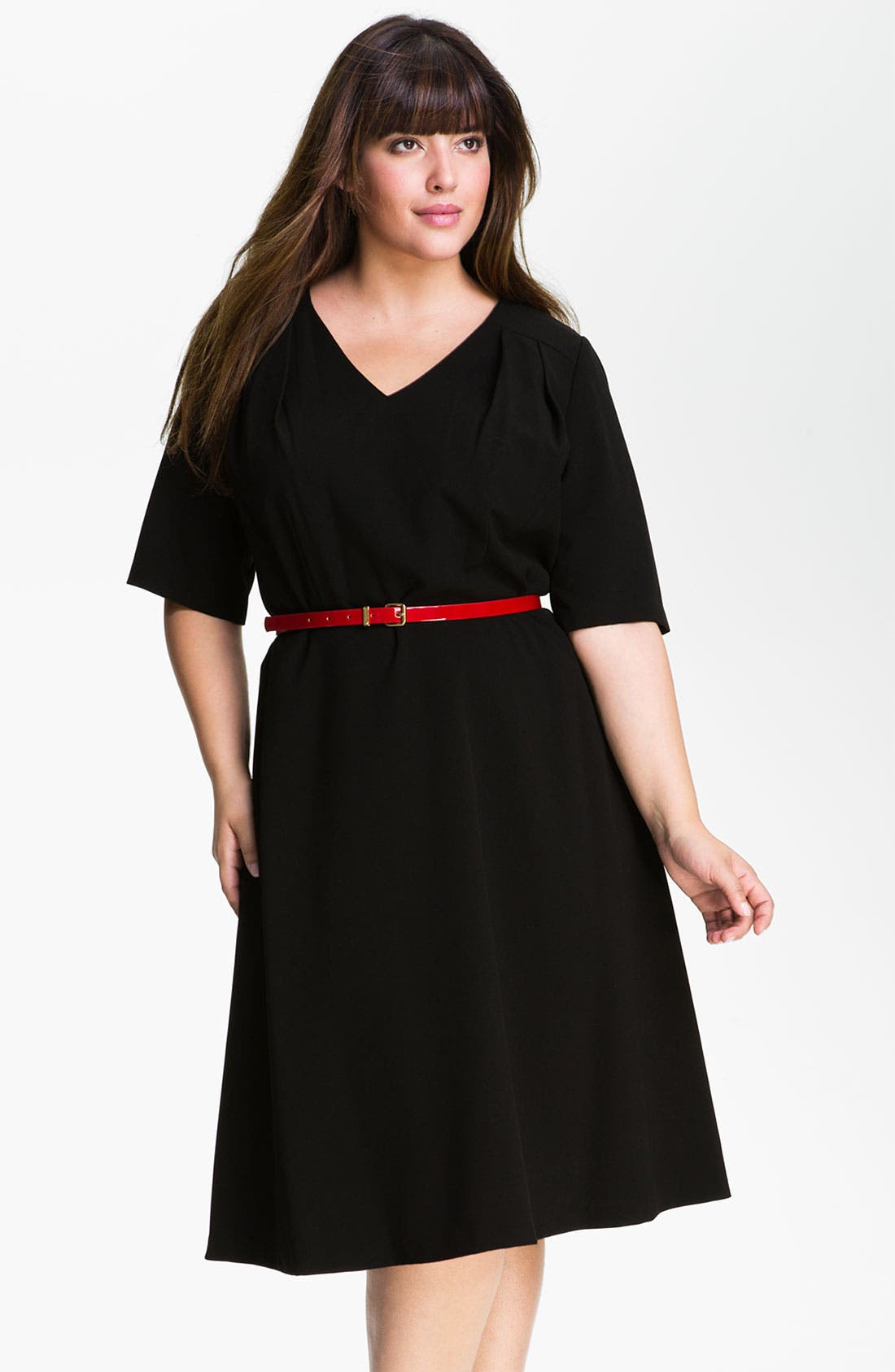 Main Image - Calvin Klein Belted V-Neck Dress (Plus)