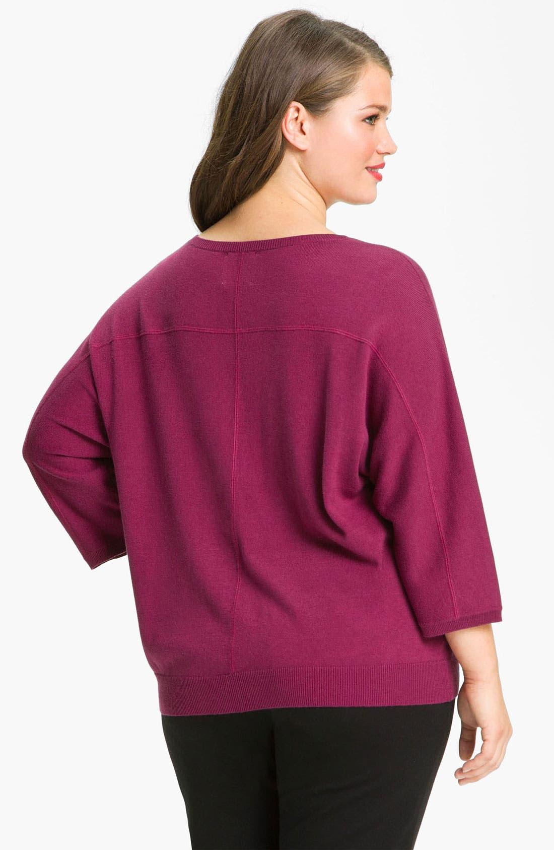 Alternate Image 2  - Sejour Seamed Dolman Sleeve Sweater (Plus)
