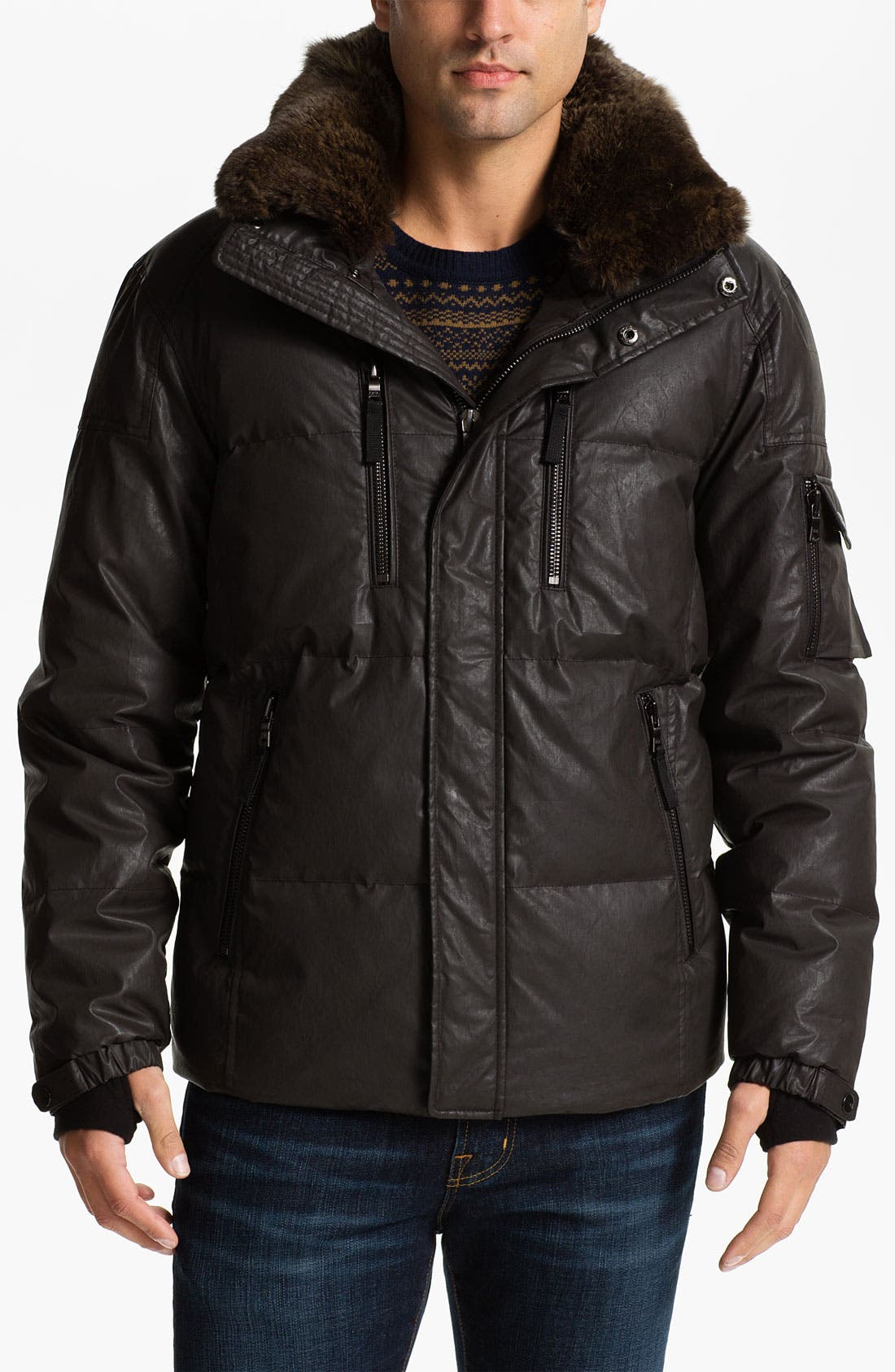 Main Image - Sam 'Hunter' Quilted Down Jacket with Genuine Rabbit Trim