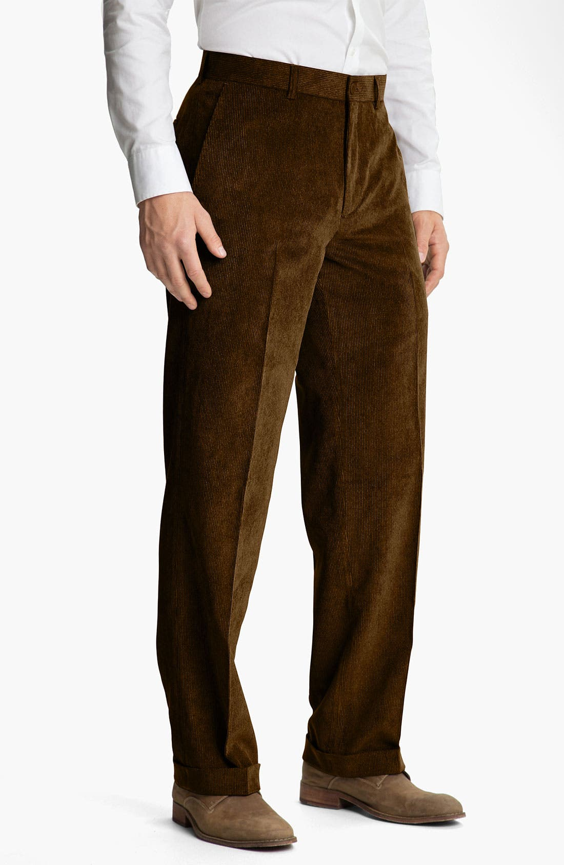 Main Image - Linea Naturale 'Micro-Duo' Flat Front Corduroy Trousers