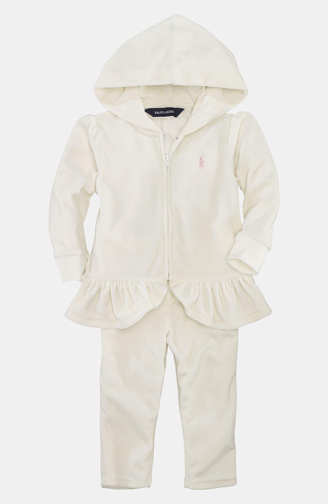 Alternate Image 1 Selected - Ralph Lauren Velour Hoodie & Pants (Infant)