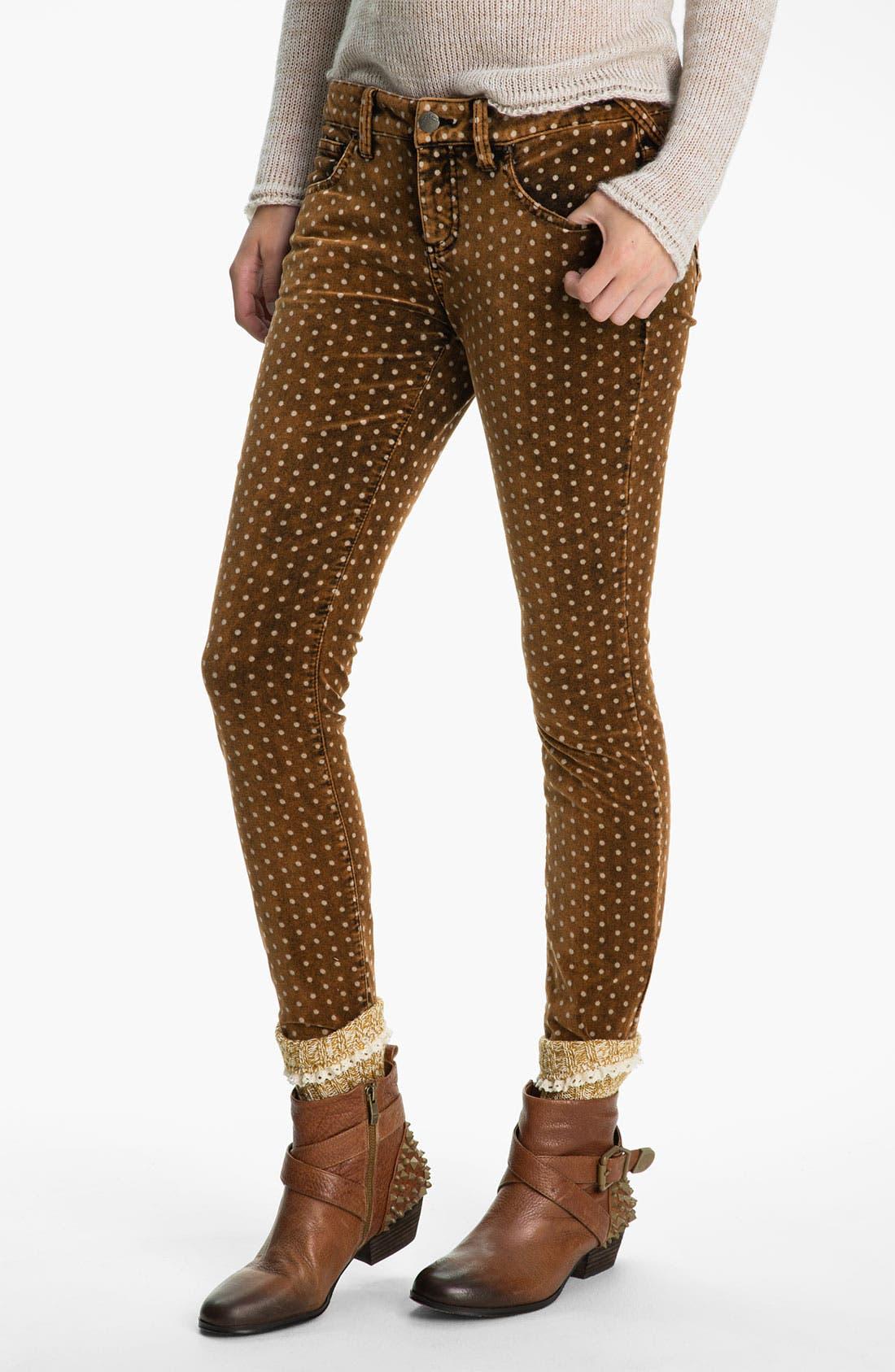 Alternate Image 1 Selected - Free People Polka Dot Skinny Velvet Pants