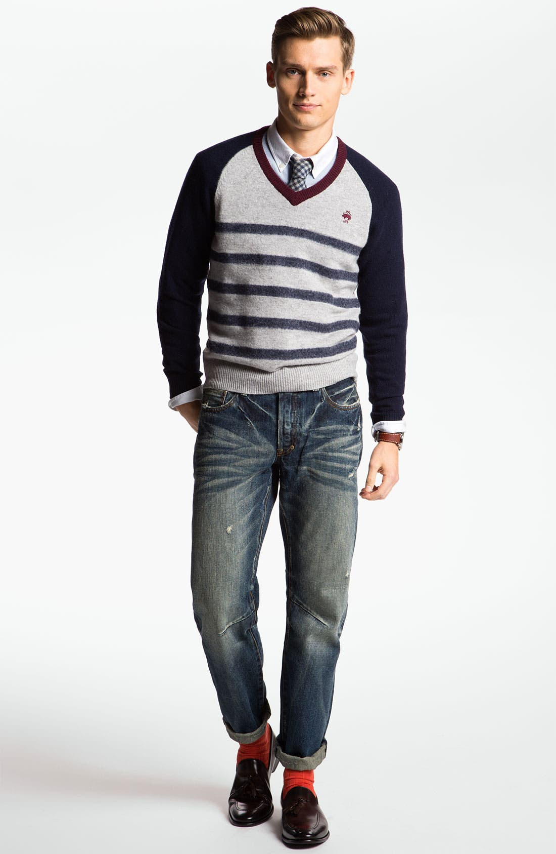 Main Image - Brooks Brothers Sweater, Oxford Shirt & PRPS Straight Leg Jeans