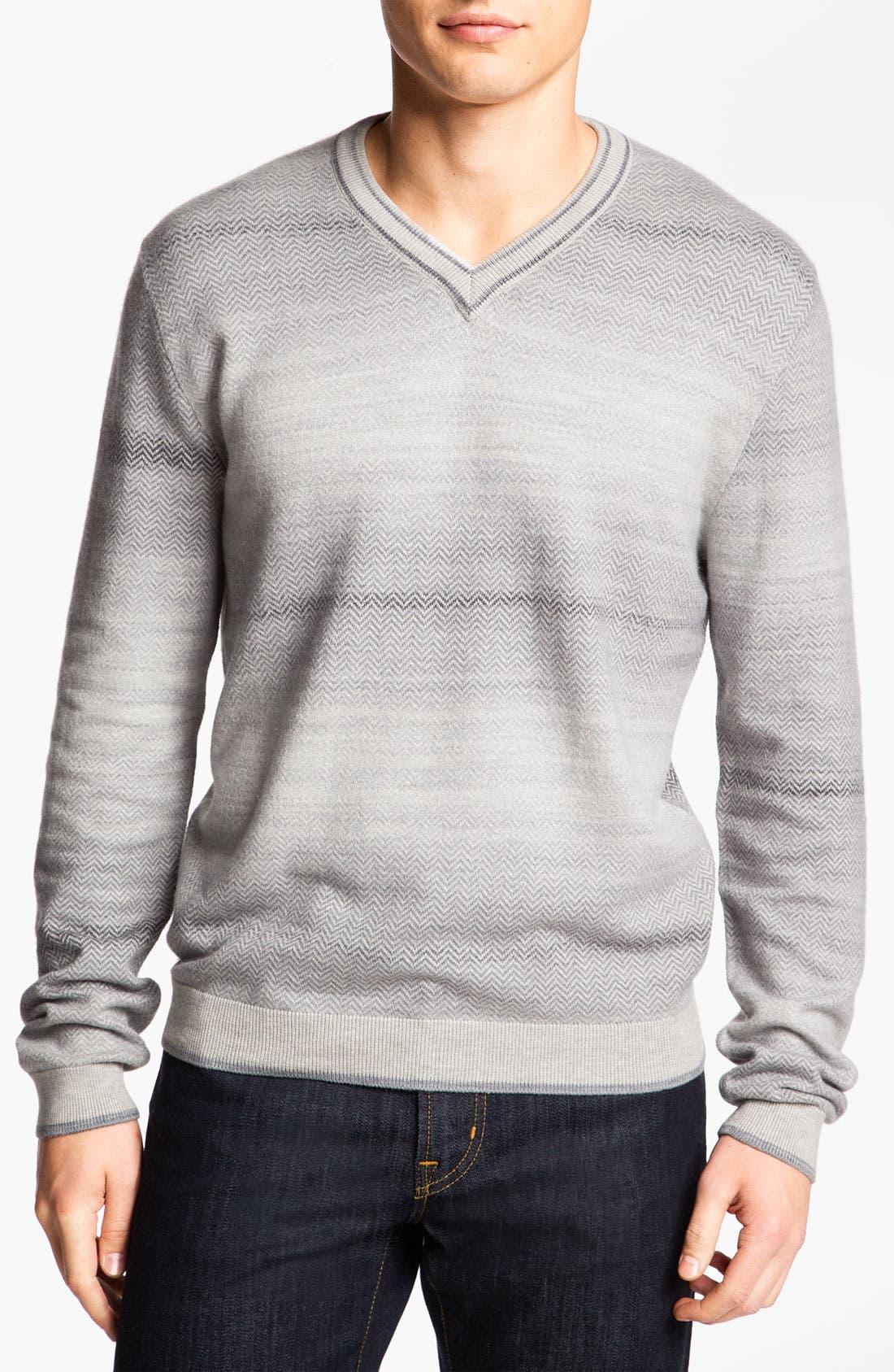 Alternate Image 1 Selected - Hickey Freeman V-Neck Herringbone Sweater