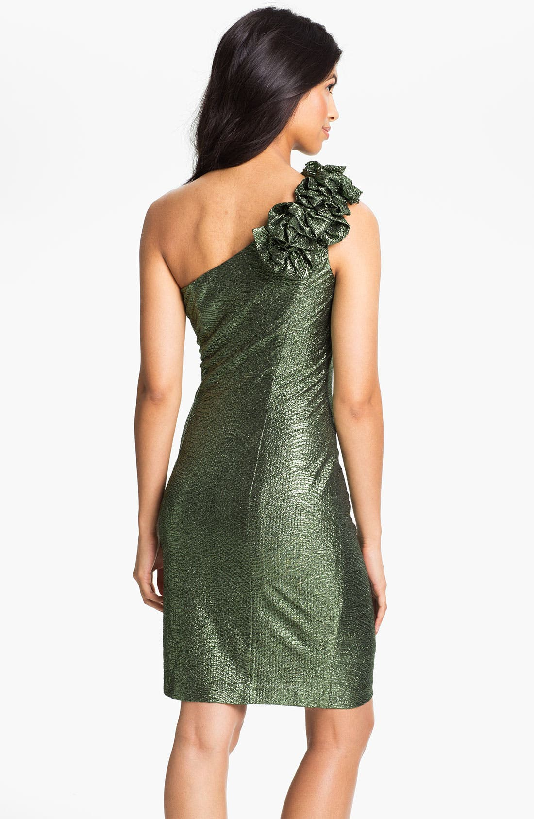 Alternate Image 2  - Hailey by Adrianna Papell Metallic One Shoulder Sheath Dress