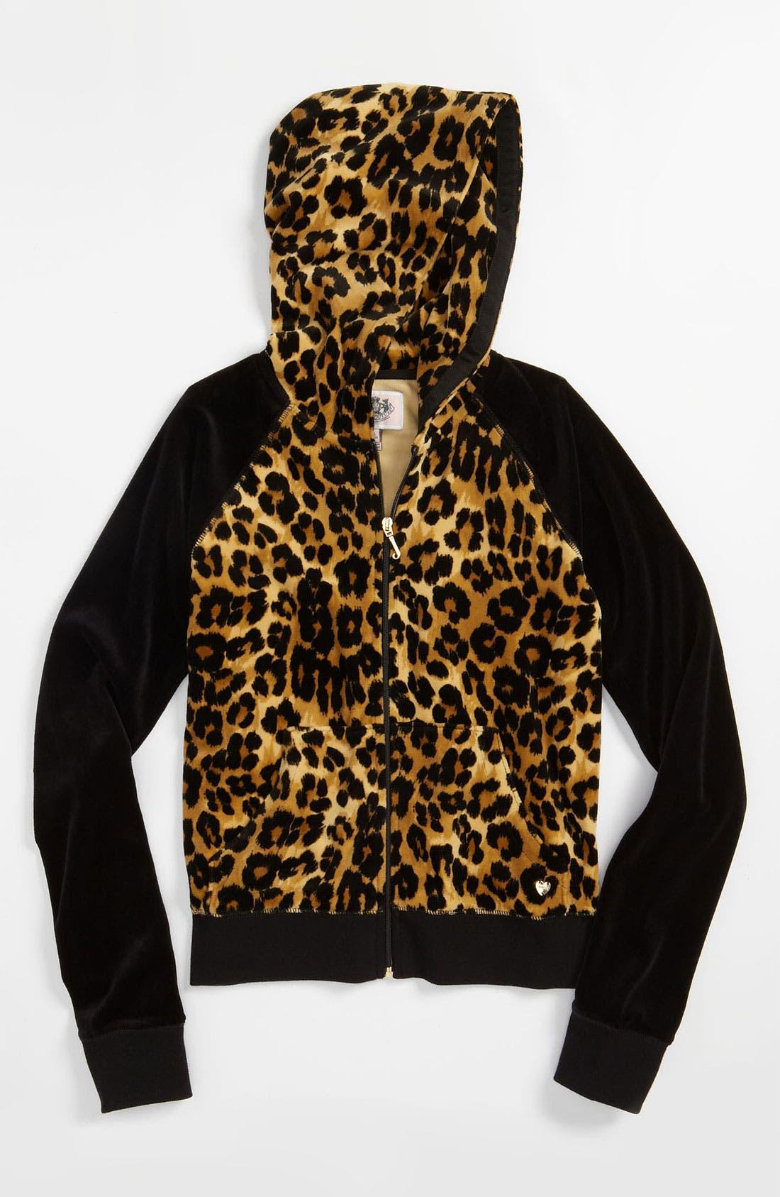 Alternate Image 1 Selected - Juicy Couture Leopard Print Hoodie (Little Girls & Big Girls)