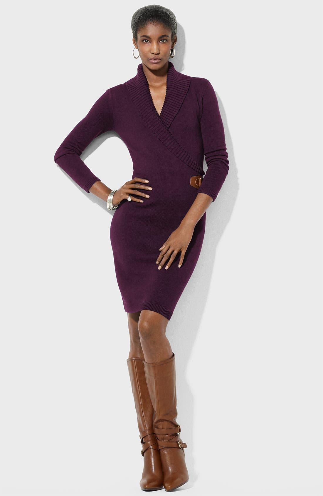 Main Image - Lauren Ralph Lauren Faux Wrap Sweater Dress