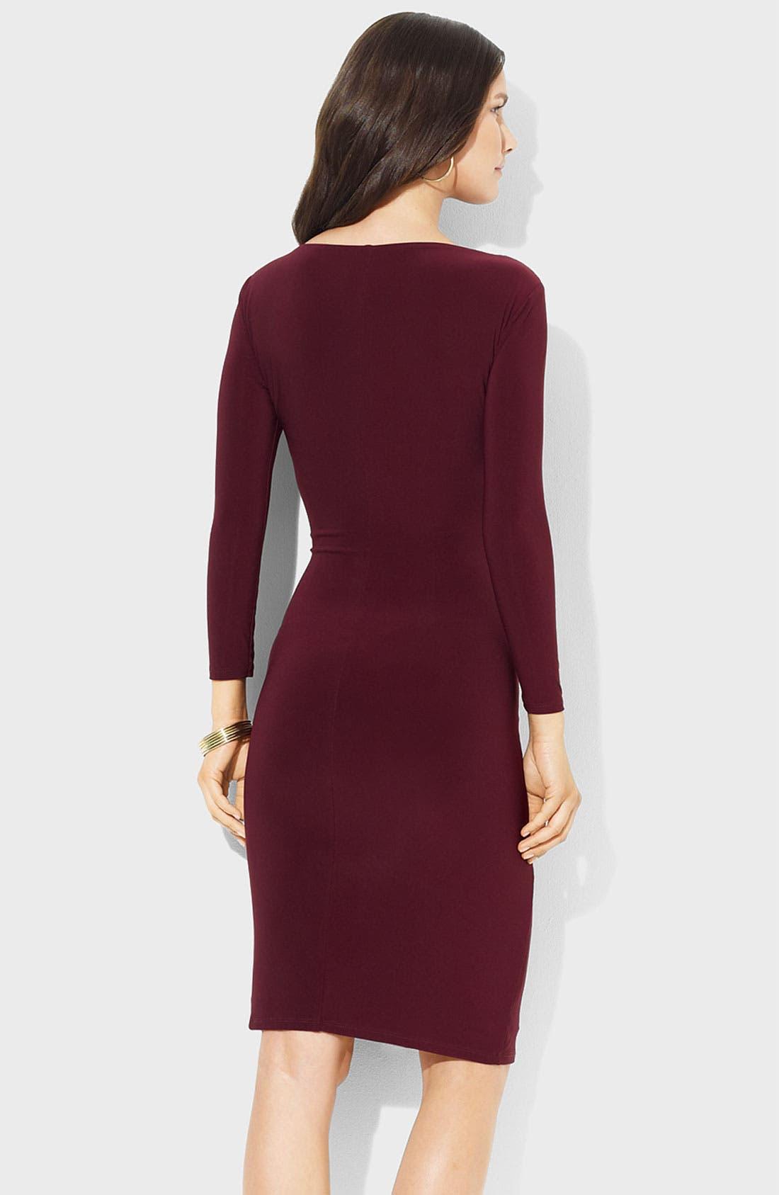 Alternate Image 2  - Lauren Ralph Lauren Front Knot Jersey Sheath Dress