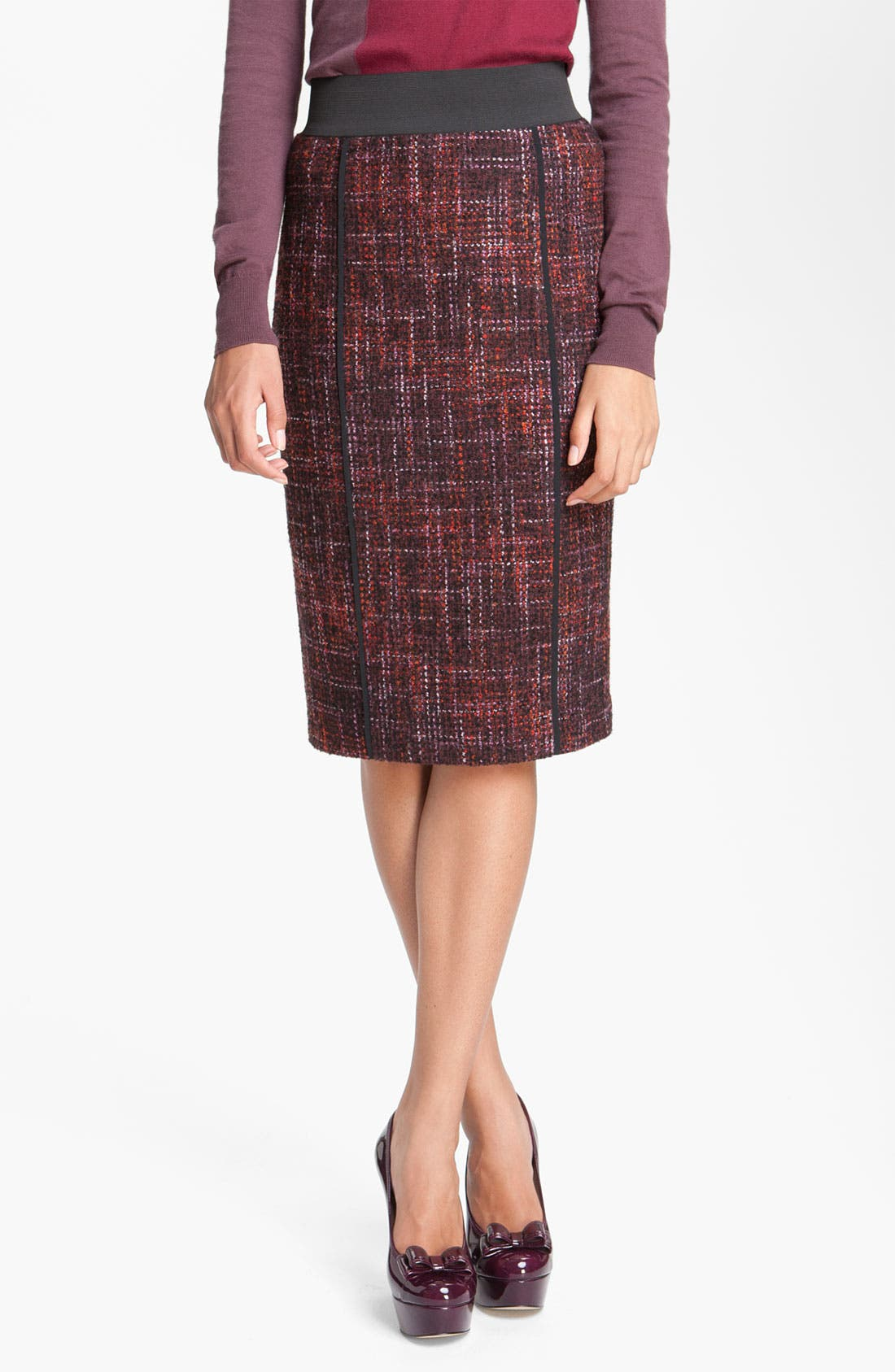 Main Image - Halogen® Elastic Waistband Bouclé Skirt