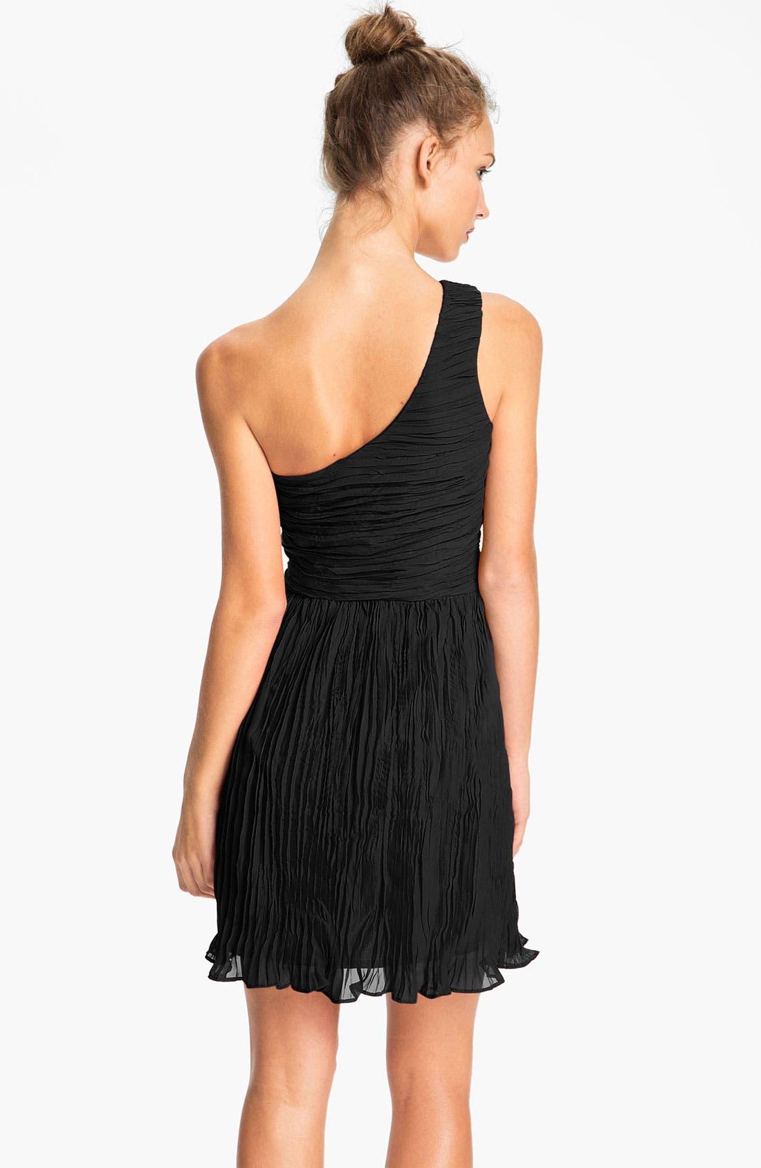 Alternate Image 2  - BB Dakota One Shoulder Crinkle Chiffon Dress