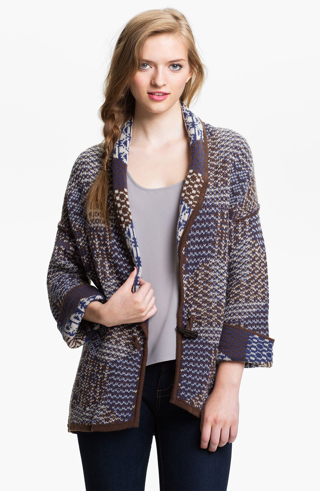 Alternate Image 1 Selected - Rubbish® Patchwork Knit Cardigan (Juniors)