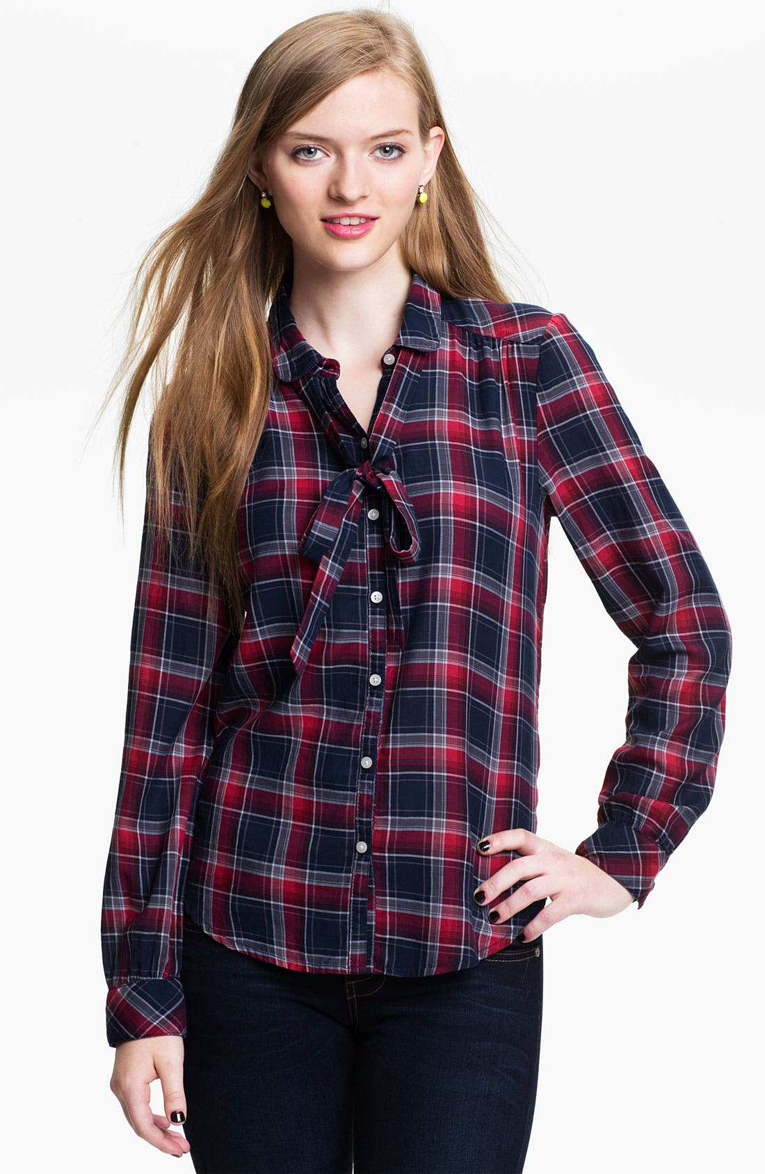 Main Image - BP. Tie Neck Plaid Shirt (Juniors)