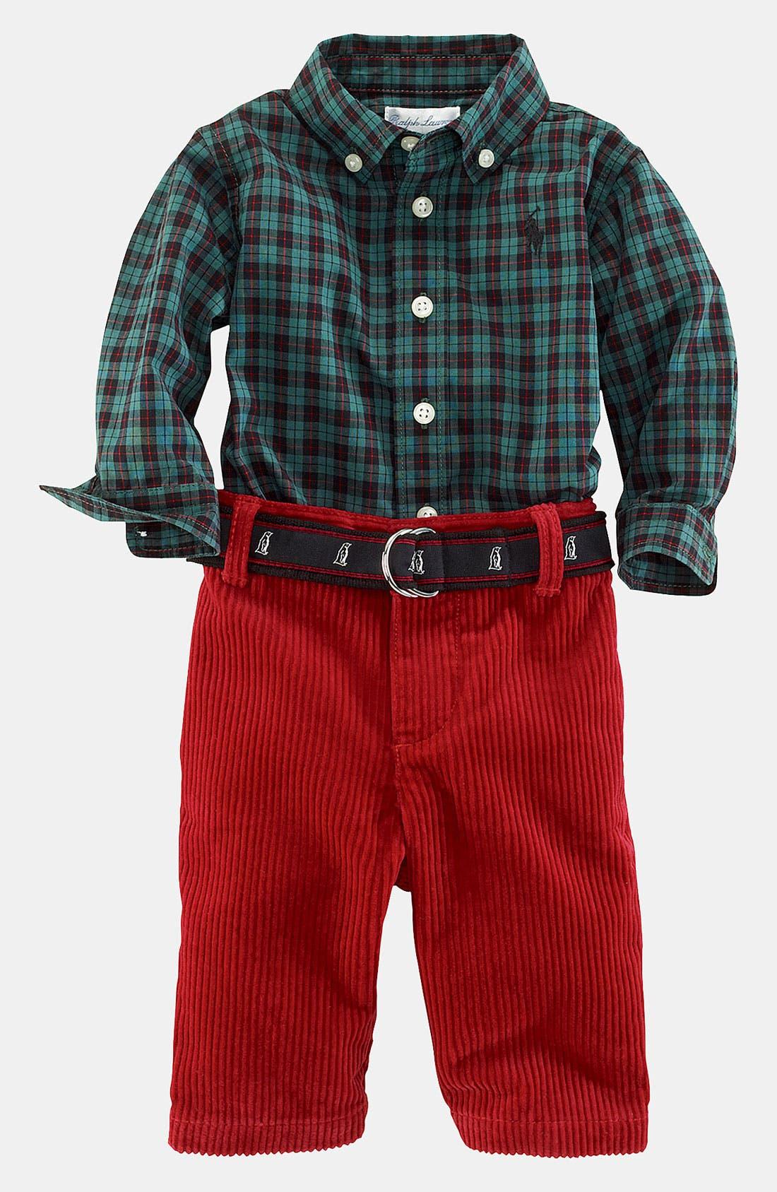 Alternate Image 1 Selected - Ralph Lauren Woven Shirt & Pants (Infant)