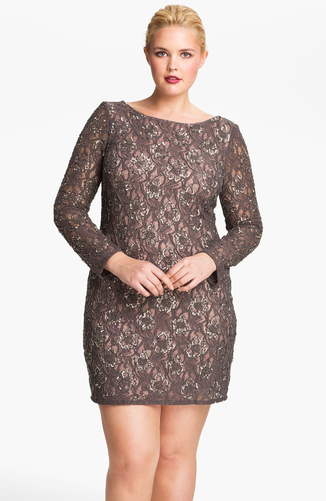 Main Image - Aidan Mattox Embellished V-Back Lace Sheath Dress (Plus)