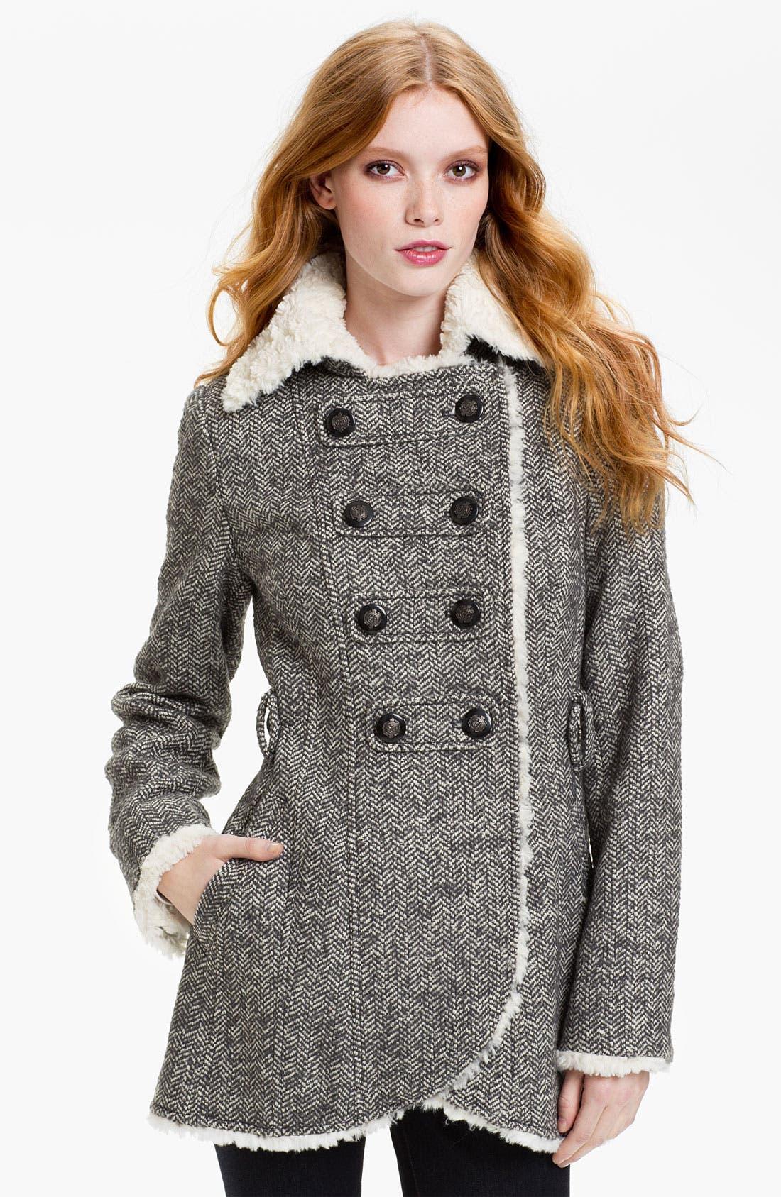 Main Image - GUESS Faux Shearling Fur Trim Peacoat (Online Exclusive)