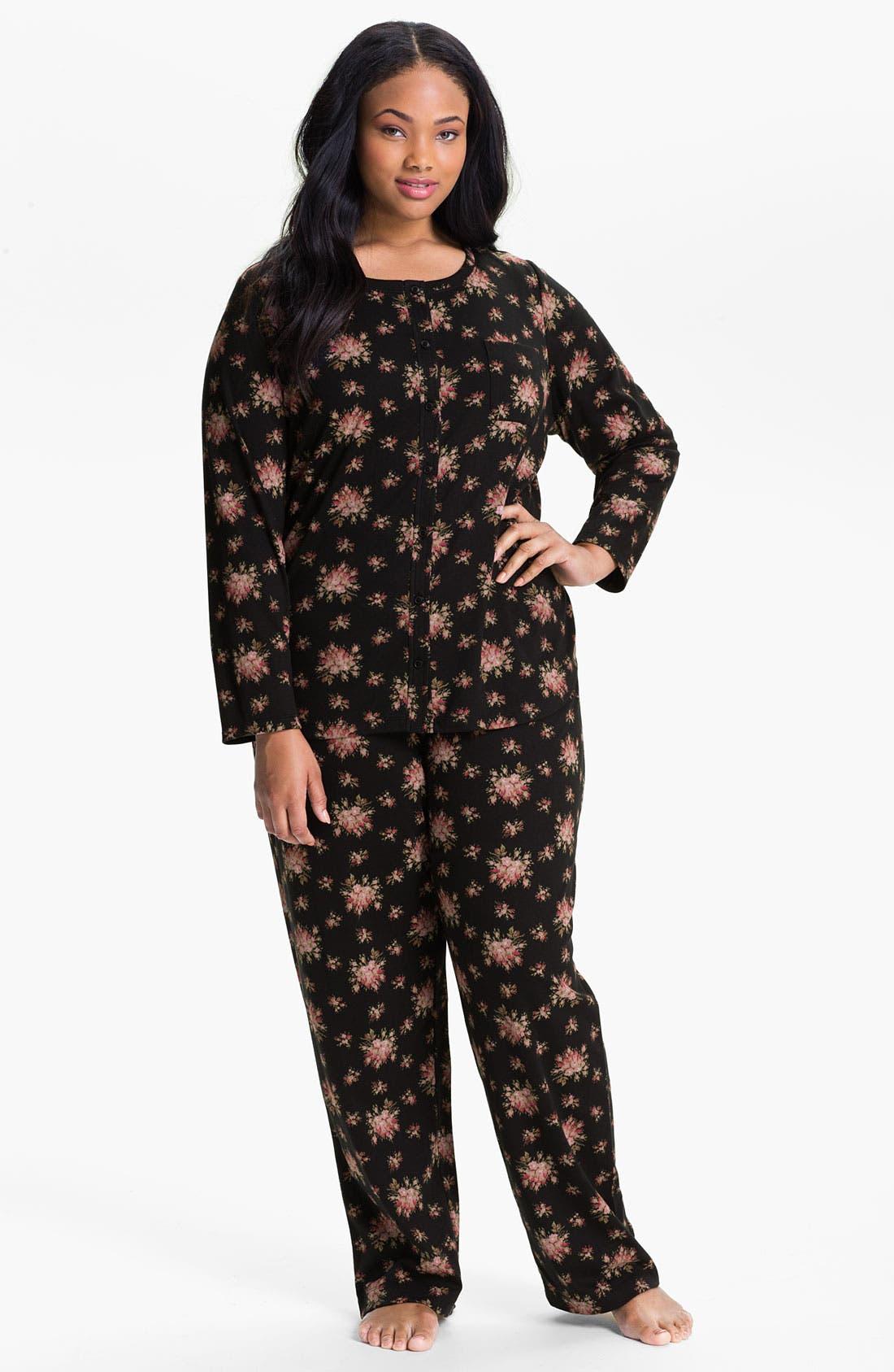 Alternate Image 1 Selected - Carole Hochman Designs Interlock Knit Pajamas (Plus)